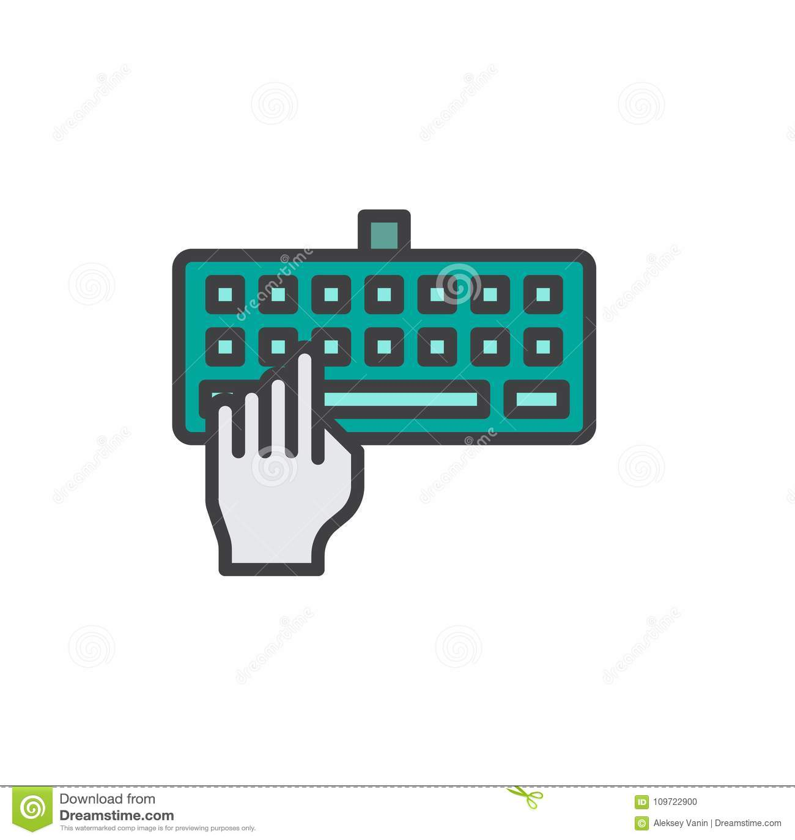 Ręka konturu pisać na maszynie klawiatura wypełniająca ikona