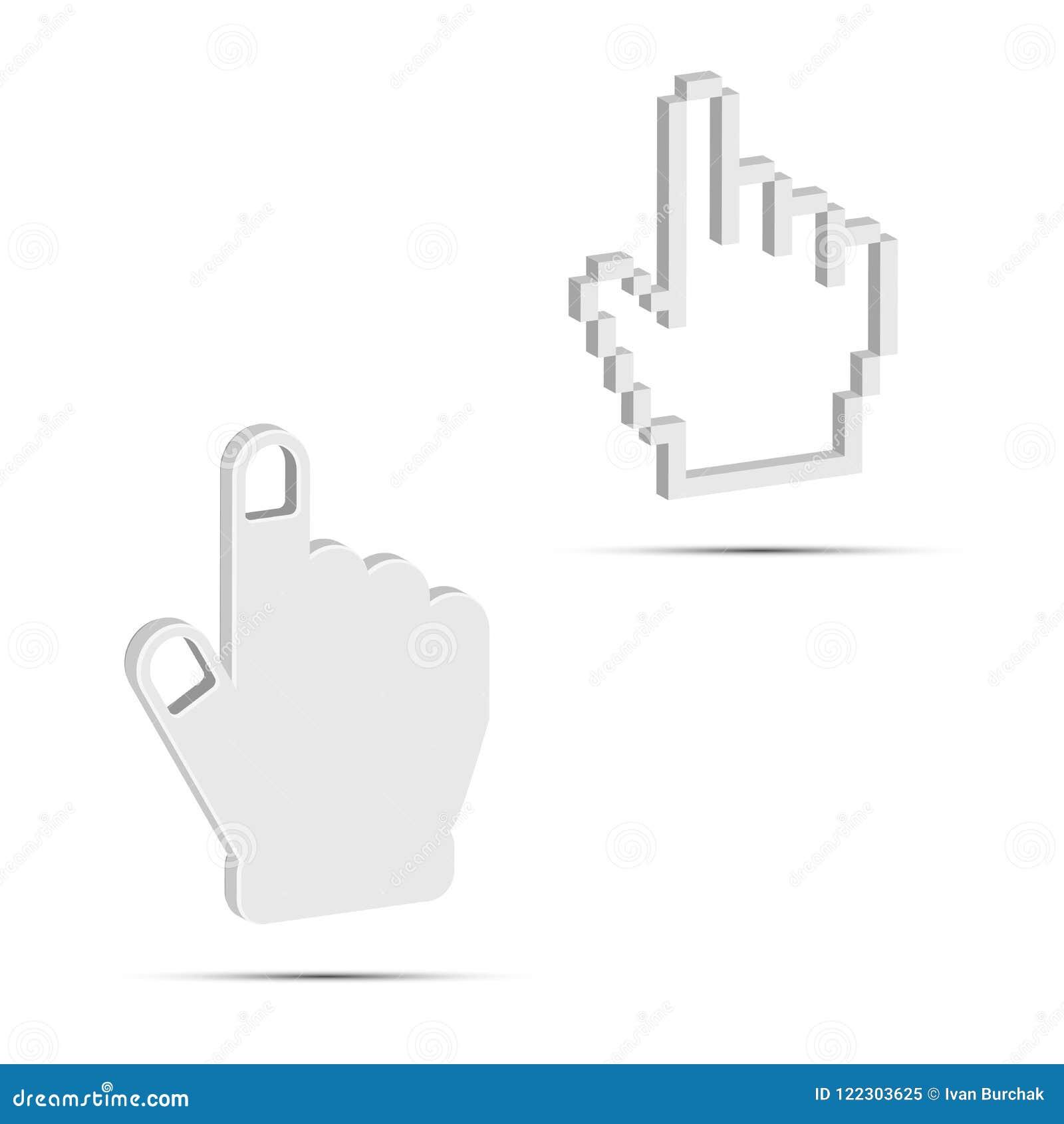 Ręka kursoru 3D wektoru ikony Gładkie i piksel Białe wektoru ręki Projektów elementy Ustawiający dla Was Projektują
