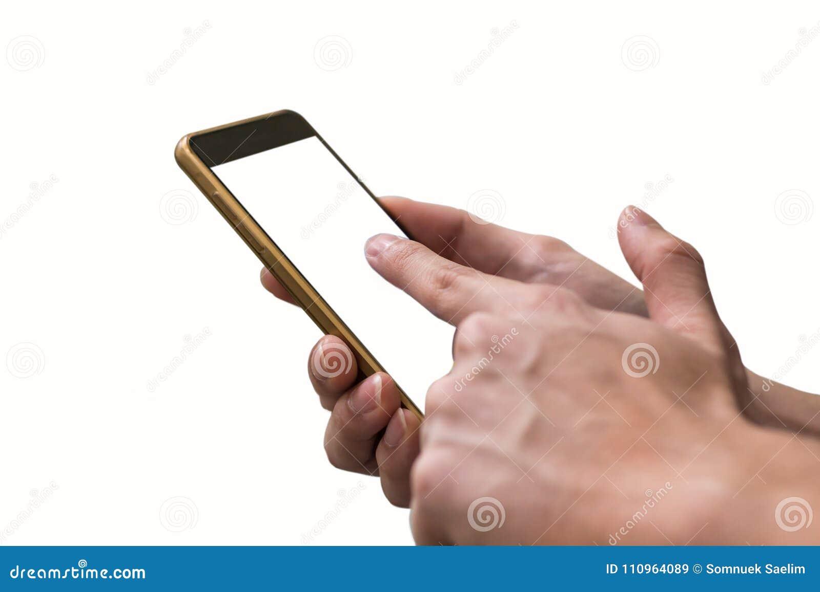 Ręka mężczyzna wskazuje palec na parawanowym smartphone na białym backgroun