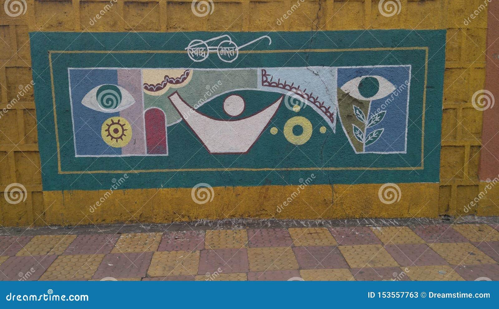 Ręka malował ściennego obraz na drogach BHOPAL MADHYA PRADESH INDIA