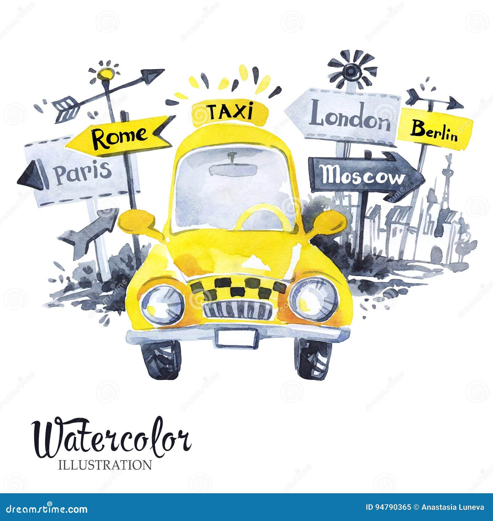 Ręka malował mini taxi samochód z miasto sztandarami