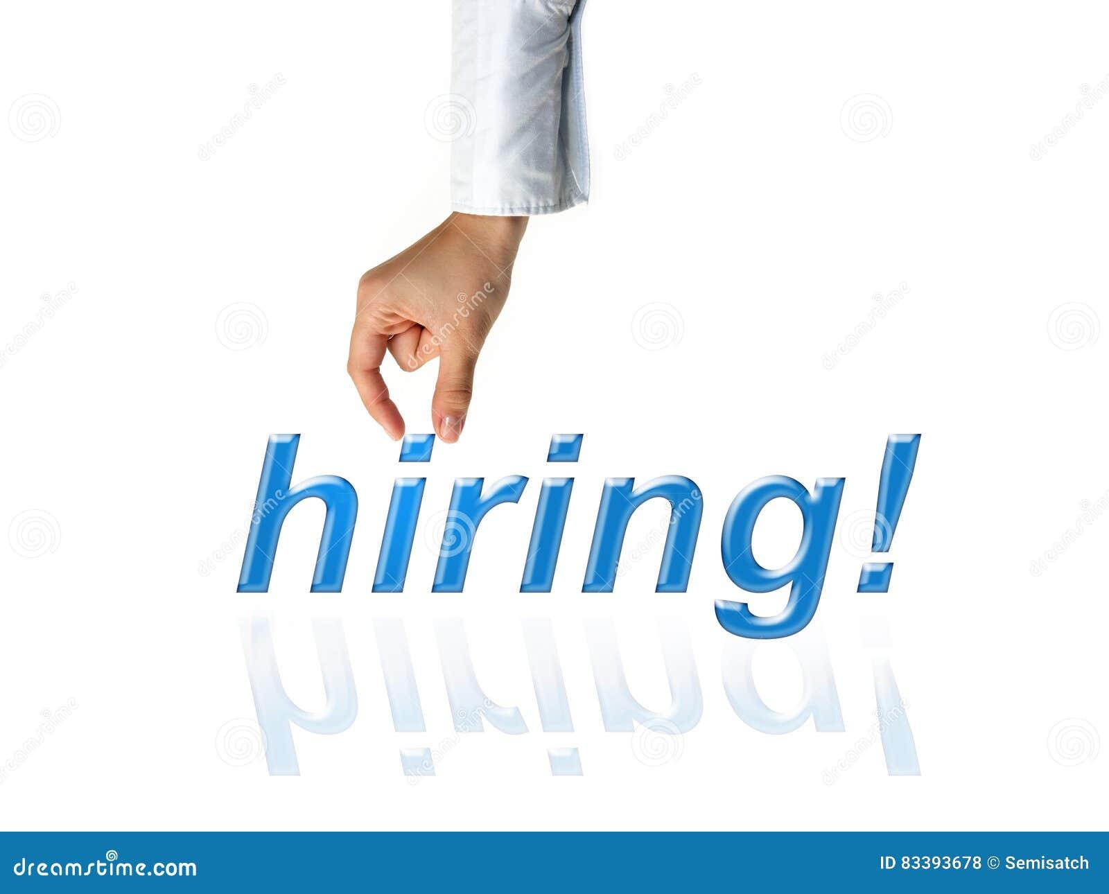 Ręka osoby werbująca reklama dla akcydensowych wakatów zatrudniać dla biznesu