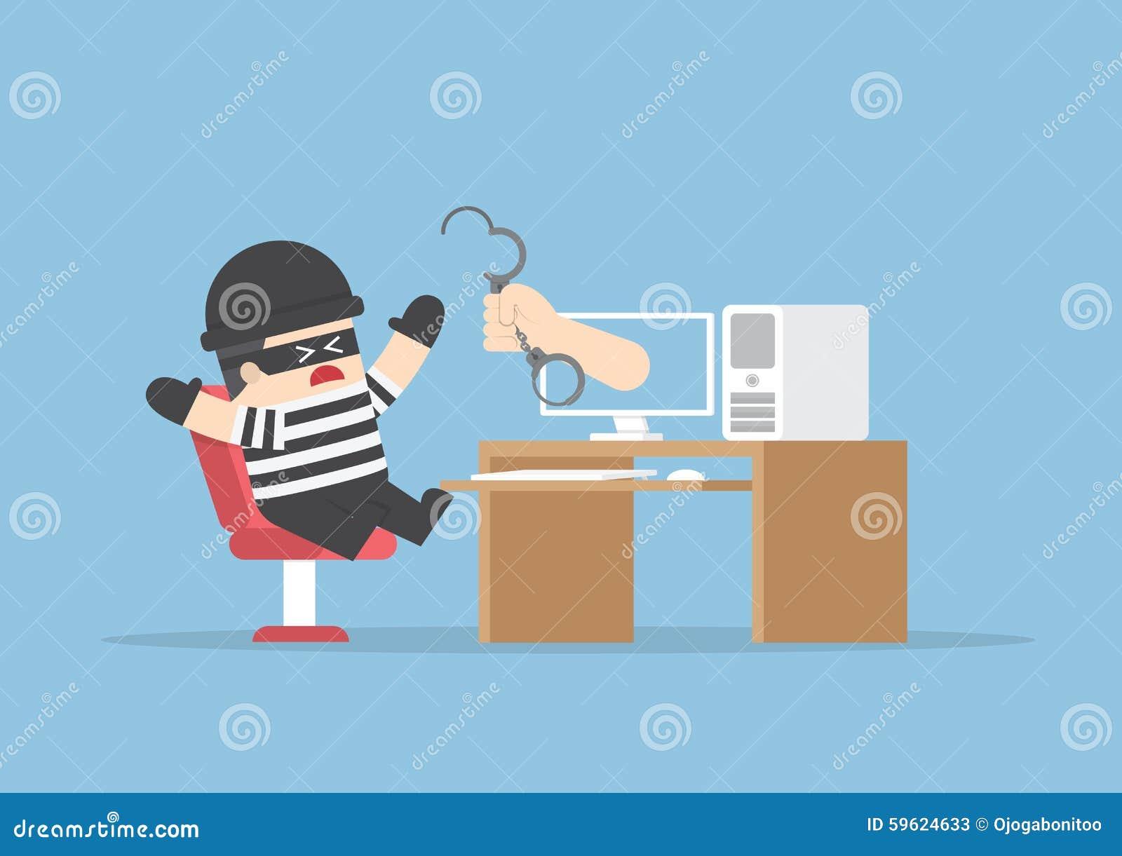 Ręka out od monitoru łapać hackera