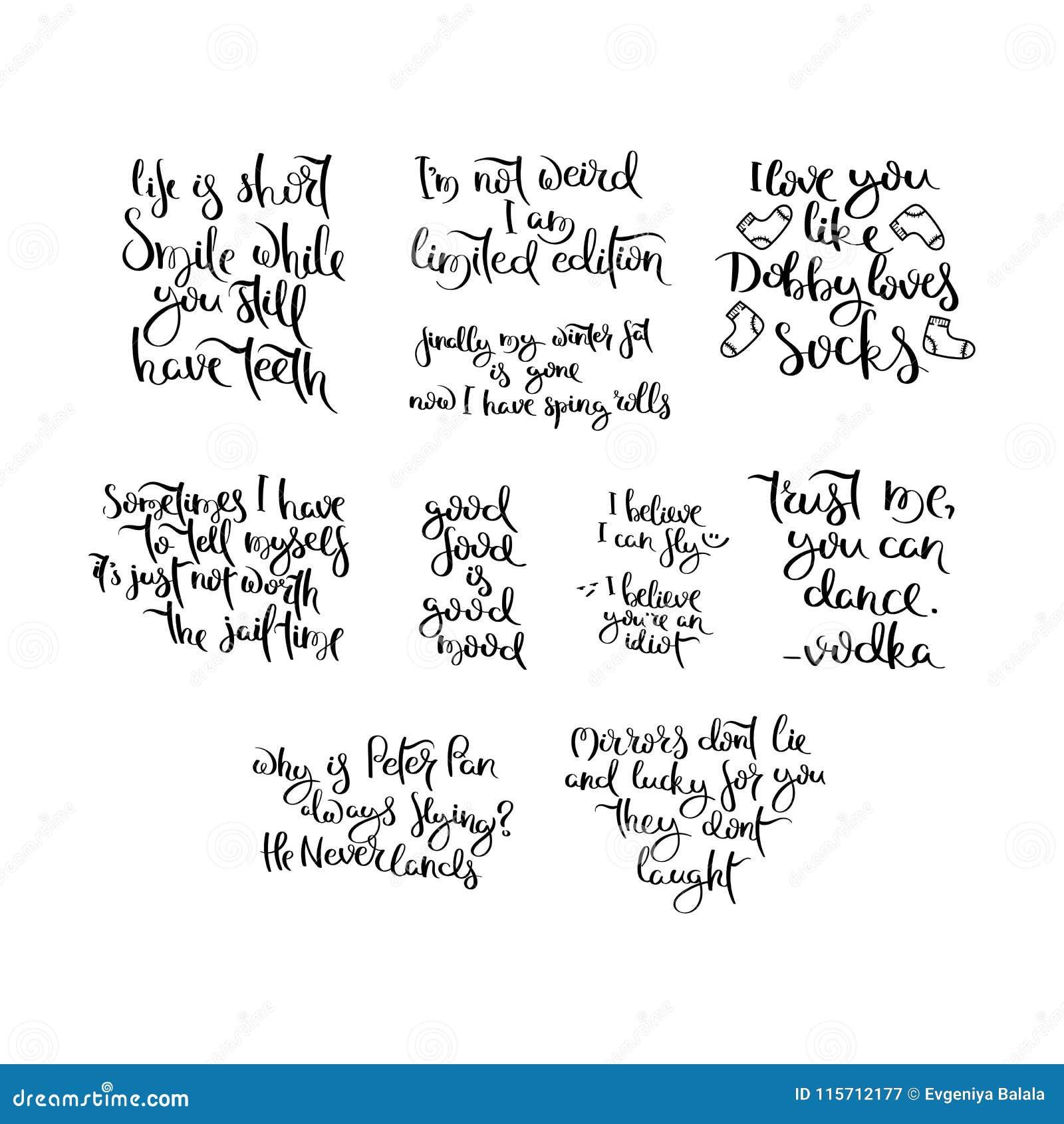 Ręka pisać kaligrafia przytacza motywację dla życia i szczęścia Dla pocztówki, plakat, druki, grępluje graficznego projekt