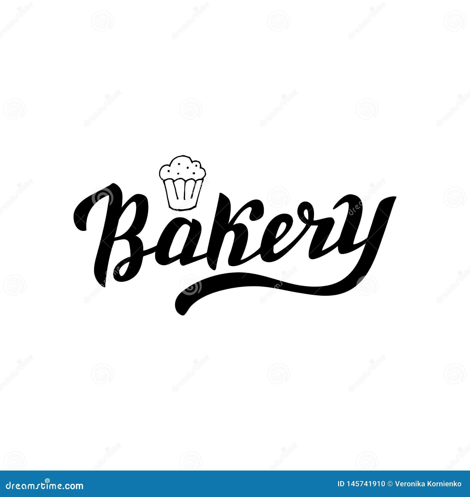 Ręka pisać modny piekarnia logo