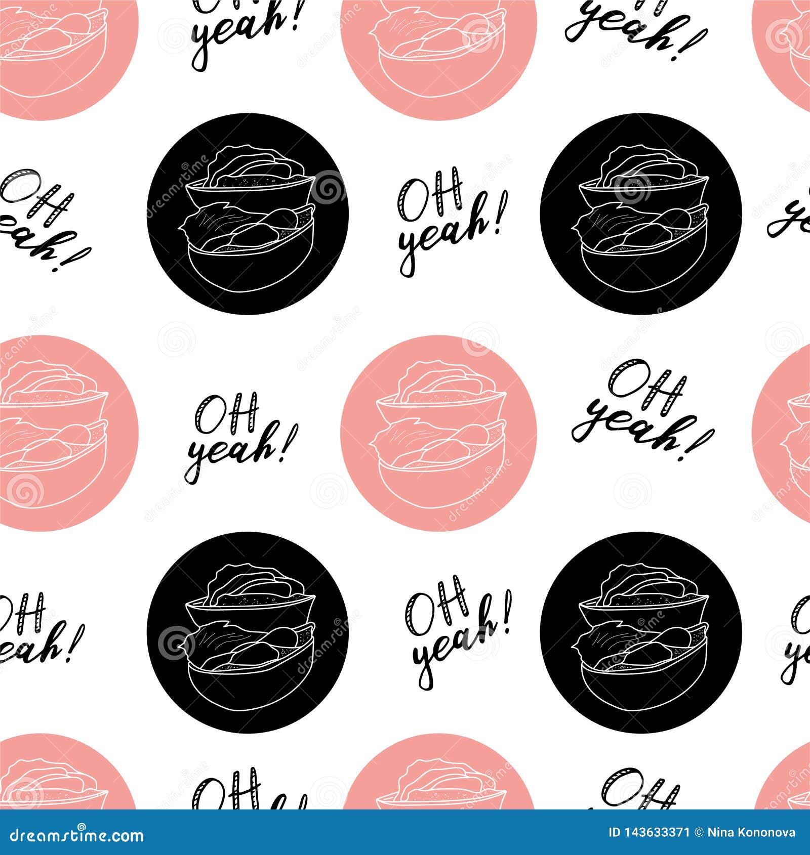Ręka remisu wektorowa ilustracja na białym tle Różowy kolor Amerykański hamburger, Cheeseburger literowanie bezszwowy wzoru