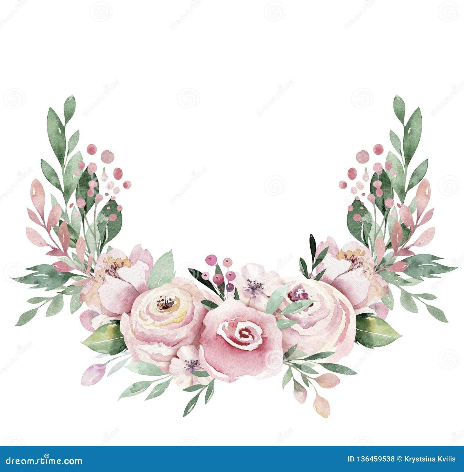 Ręka rysująca akwarela wianku ilustracja Odosobniony Botaniczny wreathes zielone gałąź i kwiatów liście Wiosna i