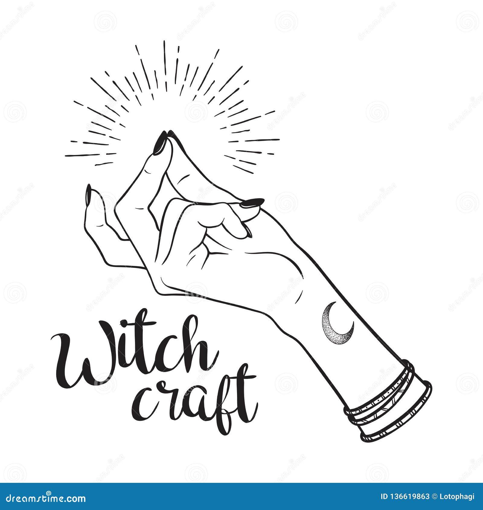 Ręka rysująca czarownicy ręka z chapnąć palca gestem Błyskowa tatuażu, blackwork, majcheru, łaty lub druku projekta wektoru ilust