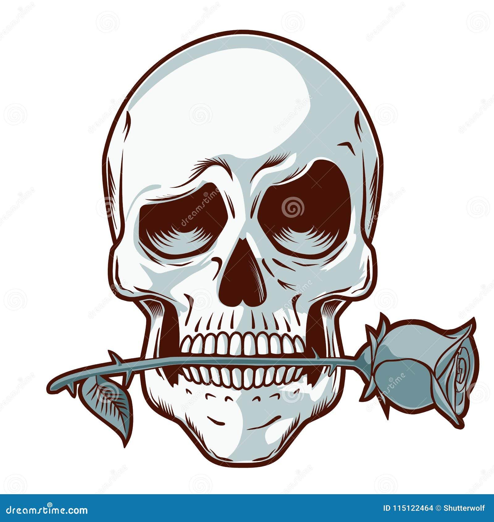 Ręka Rysująca czaszka z różą