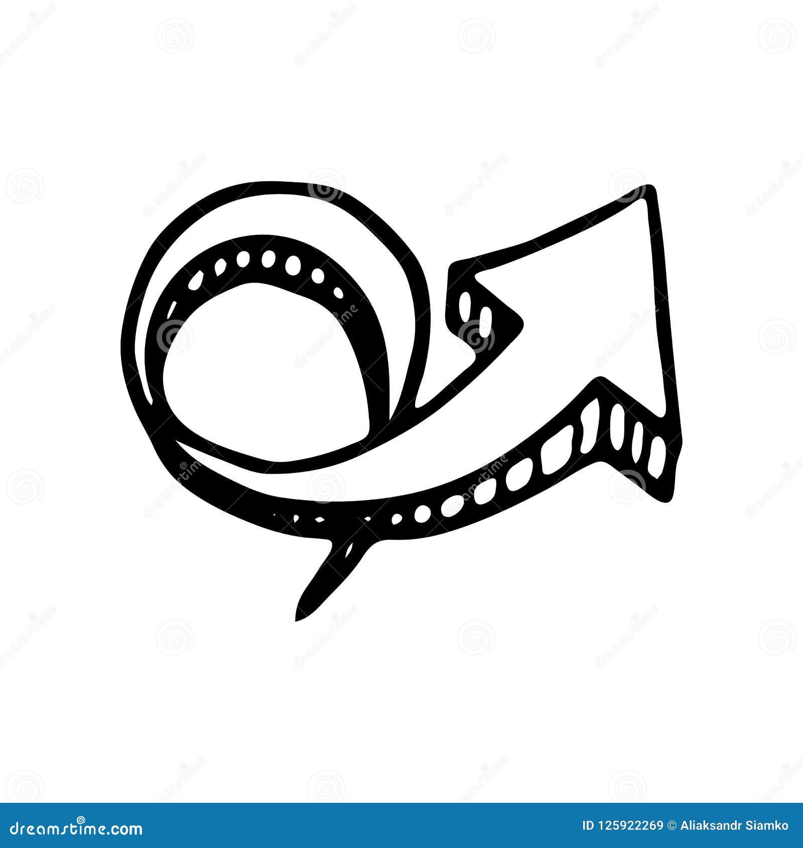 Ręka rysująca 3D doodle kółkowa strzałkowata ikona Ręka rysujący czarny sketc