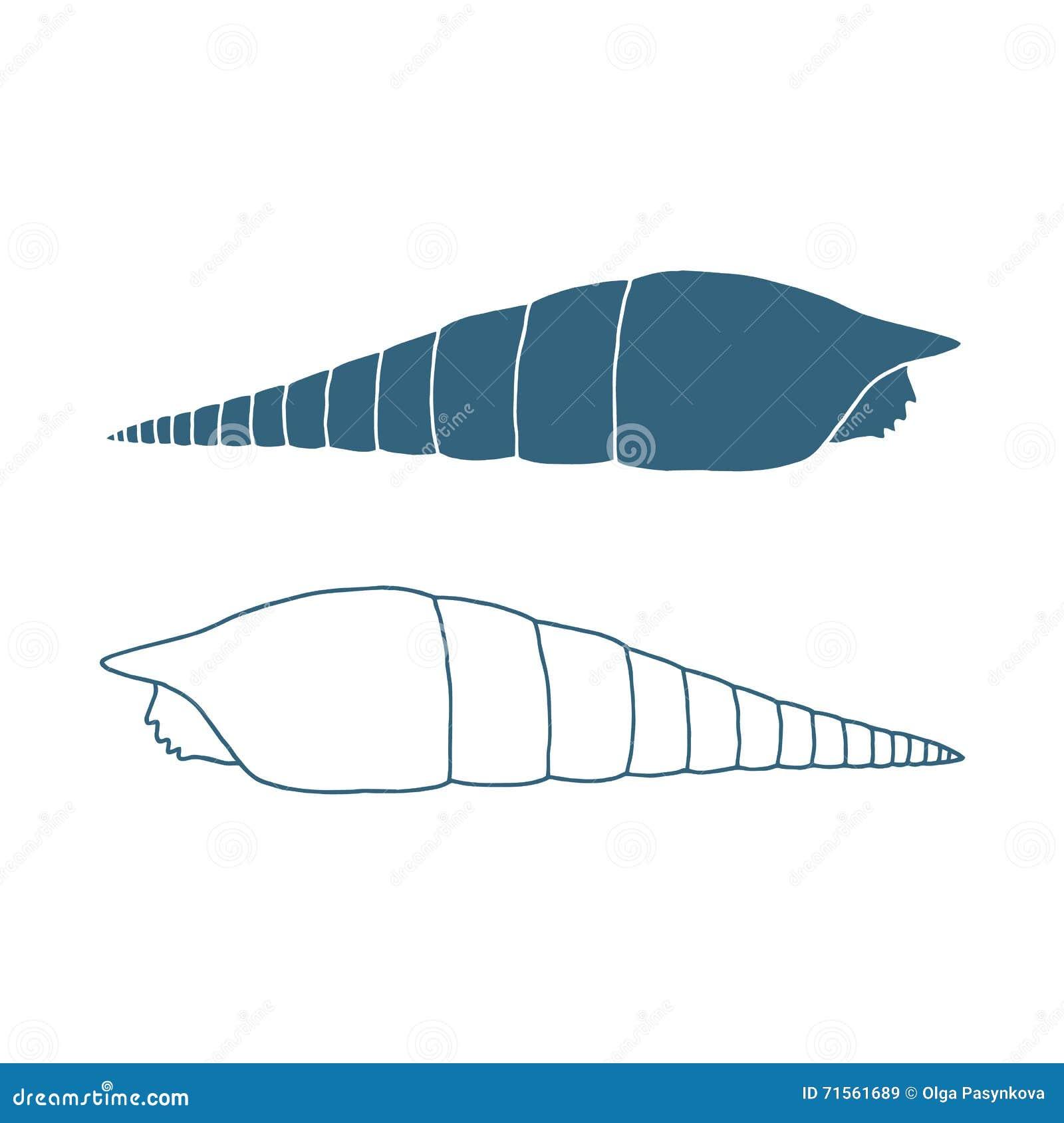 Ręka rysująca denna skorupa odosobniony również zwrócić corel ilustracji wektora