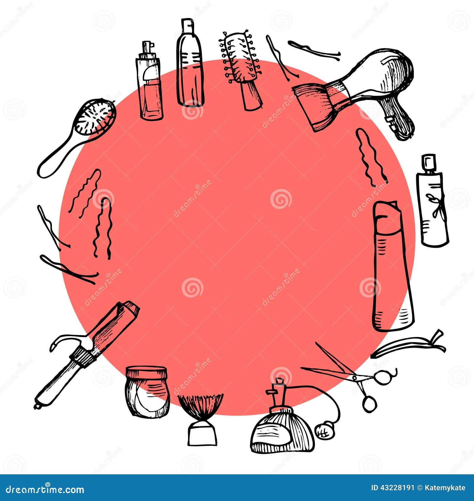 Ręka rysująca ilustracja - fryzjerstw narzędzia nożyce, gręple projektuje (,)