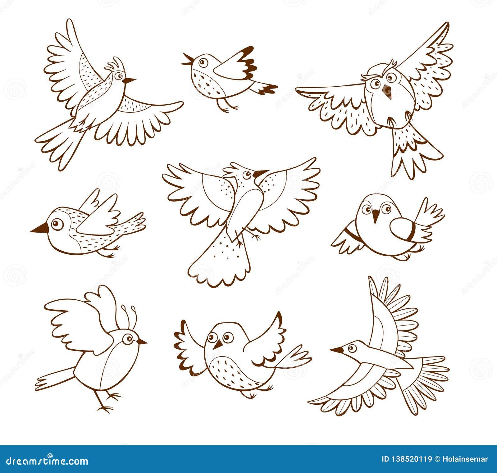 Ręka rysująca latającego ptaka kolekcja