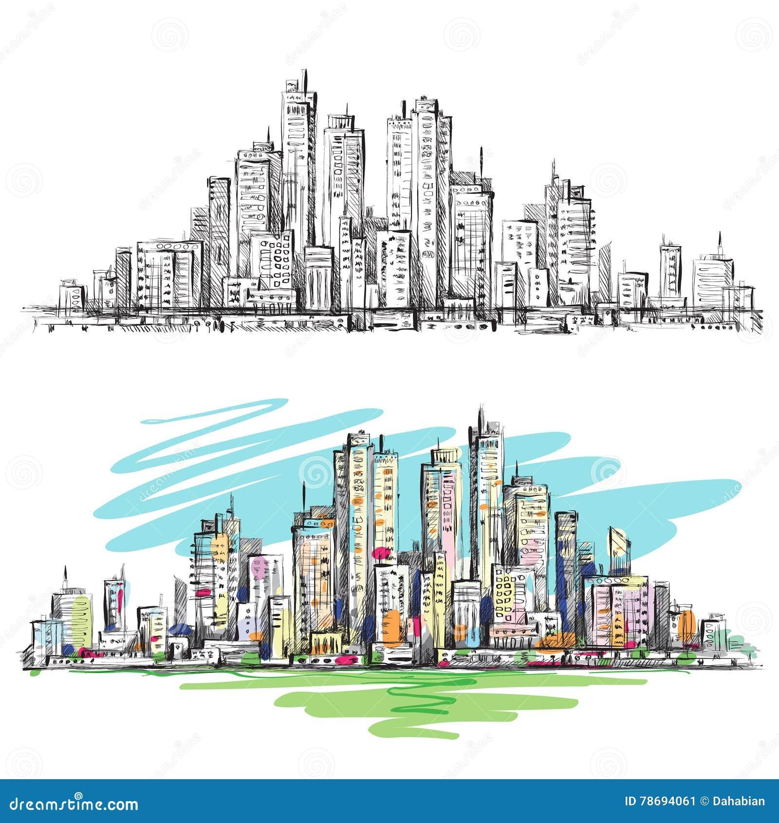 Ręka rysująca Miastowa scena cityscape