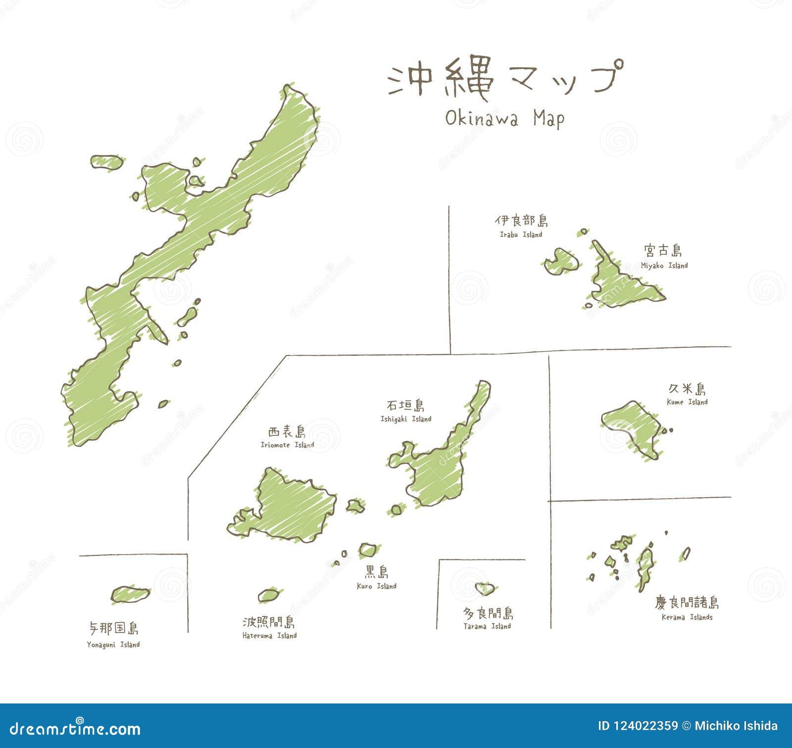 Ręka rysująca nakreślenie mapa Okinawan wyspy