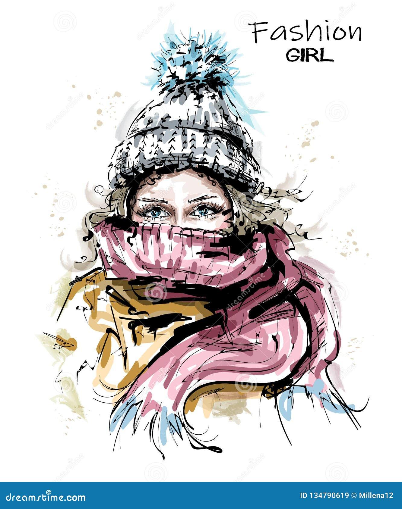 Ręka rysująca piękna młoda kobieta w dzianiny nakrętce Elegancki zimy spojrzenie Mody kobieta z szalikiem