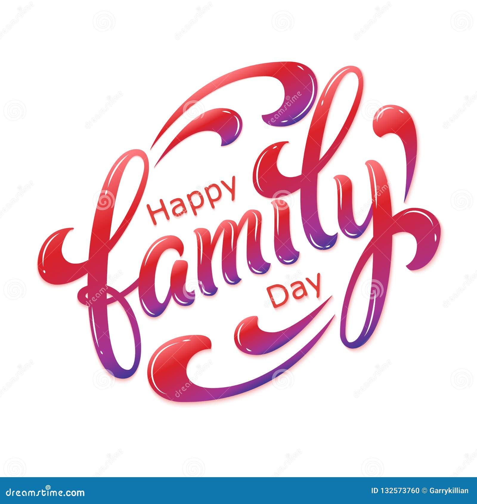 Ręka rysująca piszący list Szczęśliwego Rodzinnego dzień Wektorowa atrament ilustracja Kolorowa typografia na białym tle z cienie