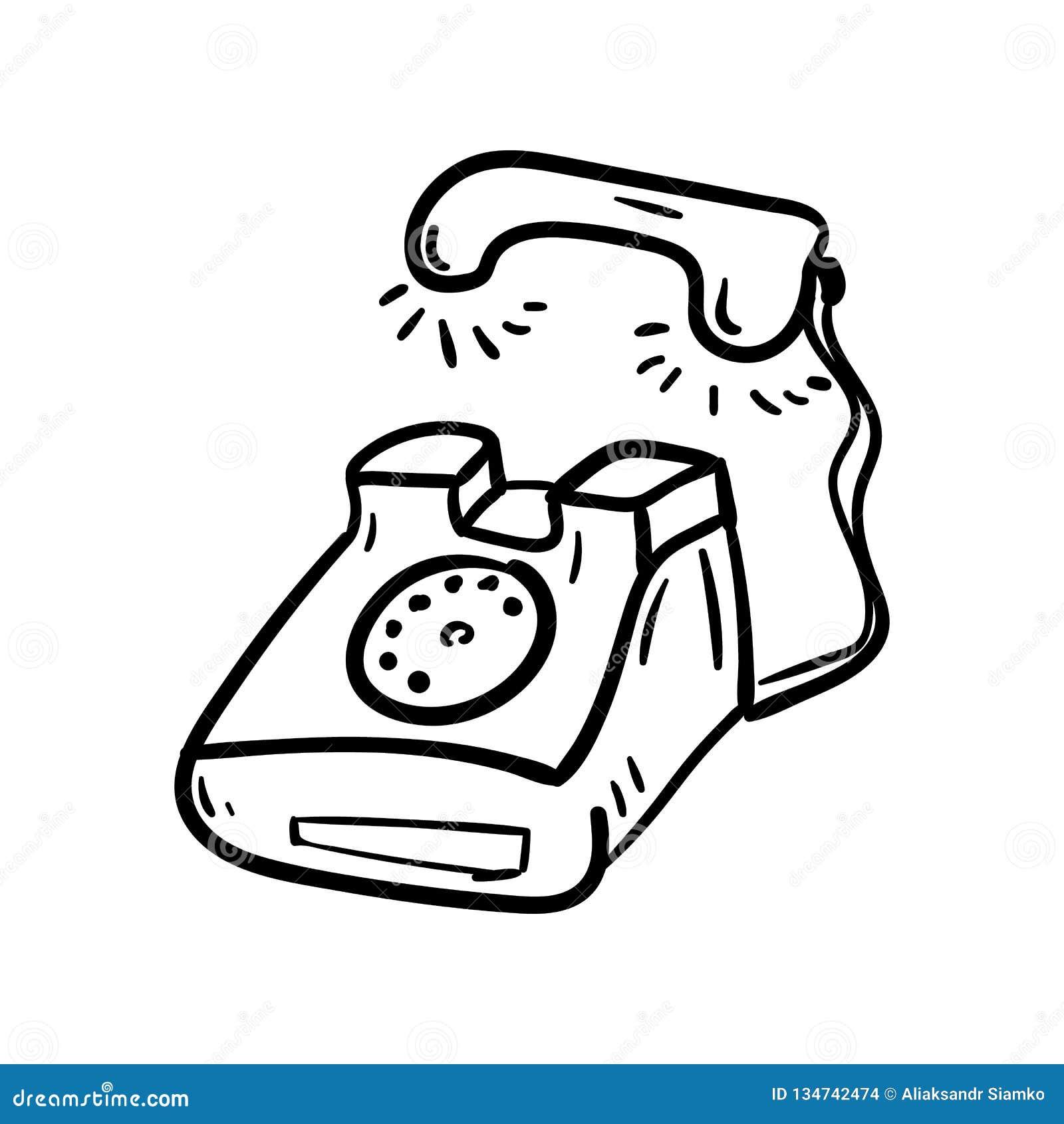 Ręka rysująca telefoniczna doodle ikona Ręka rysujący czarny nakreślenie szyldowy symbol Dekoracja element Biały tło odosobniony