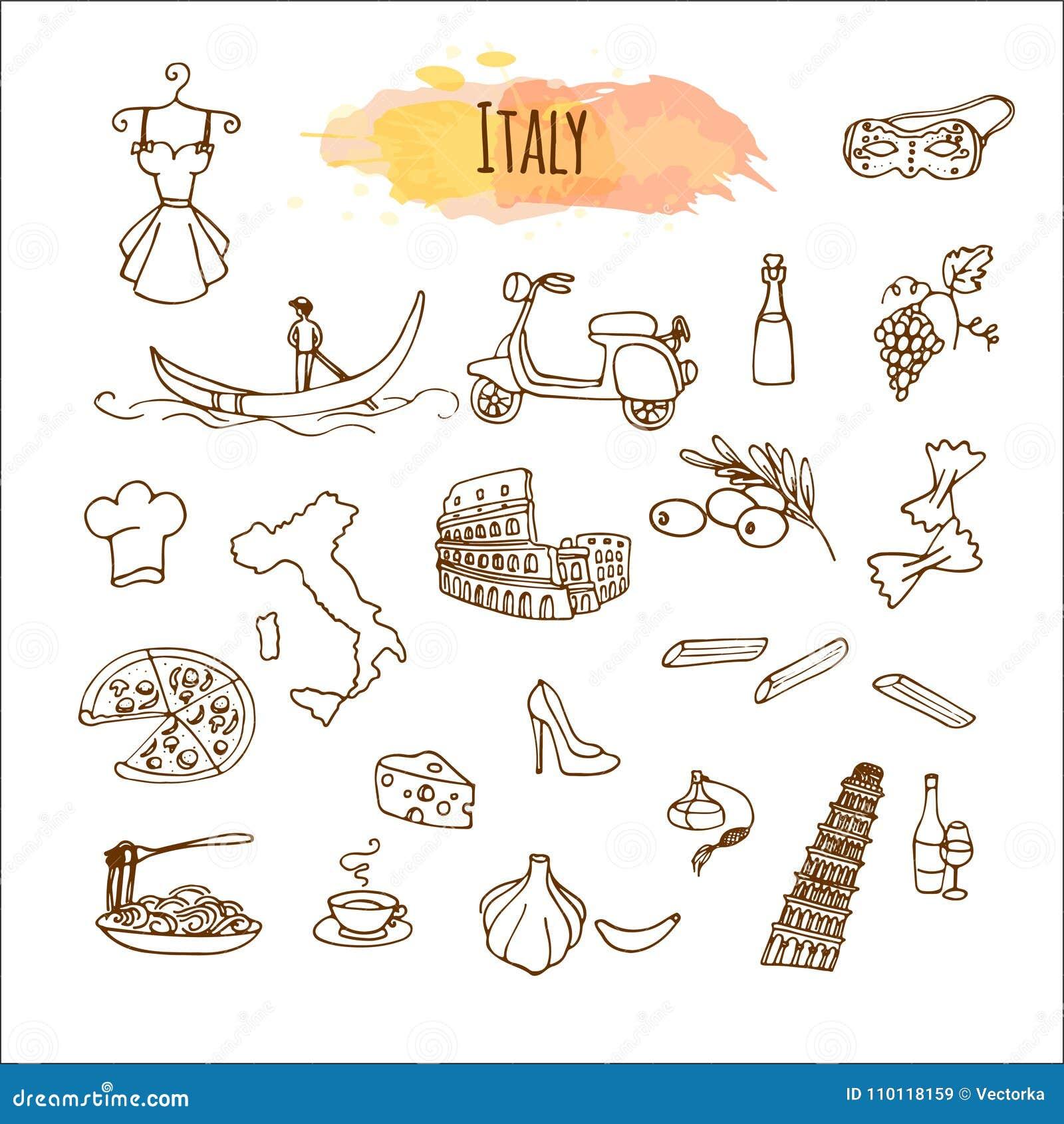 Ręka Rysująca Włoska Kuchnia Karmowy Menu Projekt Ilustracja