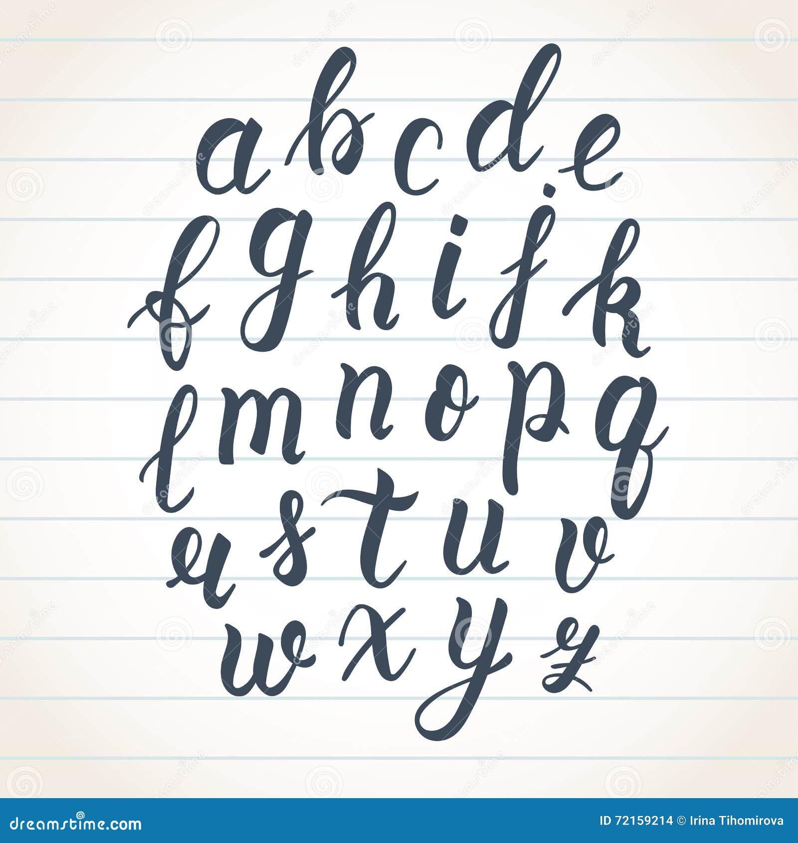Ręka rysujący łaciński kaligrafii muśnięcia pismo lowercase listy Kaligraficzny abecadło wektor