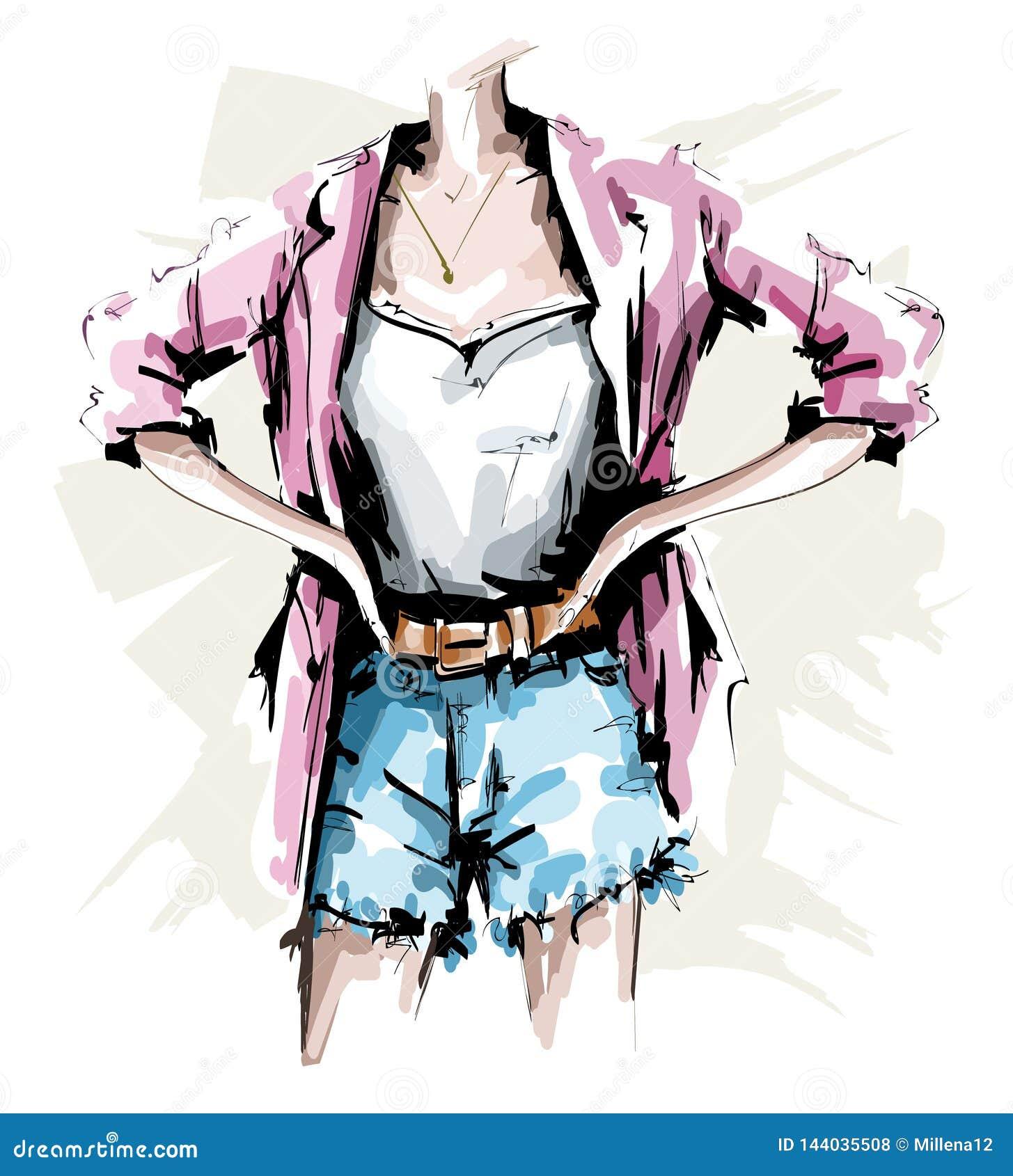 Ręka rysujący żeński ciało Moda strój Elegancki kobiety spojrzenie z skrótami, koszula, kurtką i akcesoriami, nakreślenie