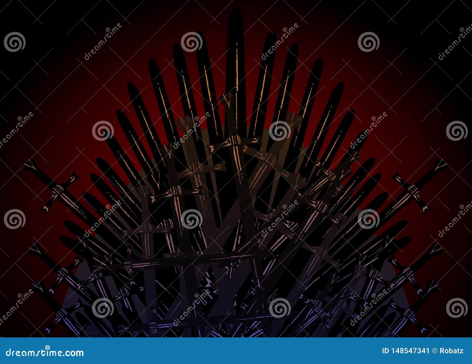 Ręka rysujący żelazny tron wieki średni robić antykwarscy kordziki lub metali ostrza Ceremonialny krzesło budujący broni ciemny b