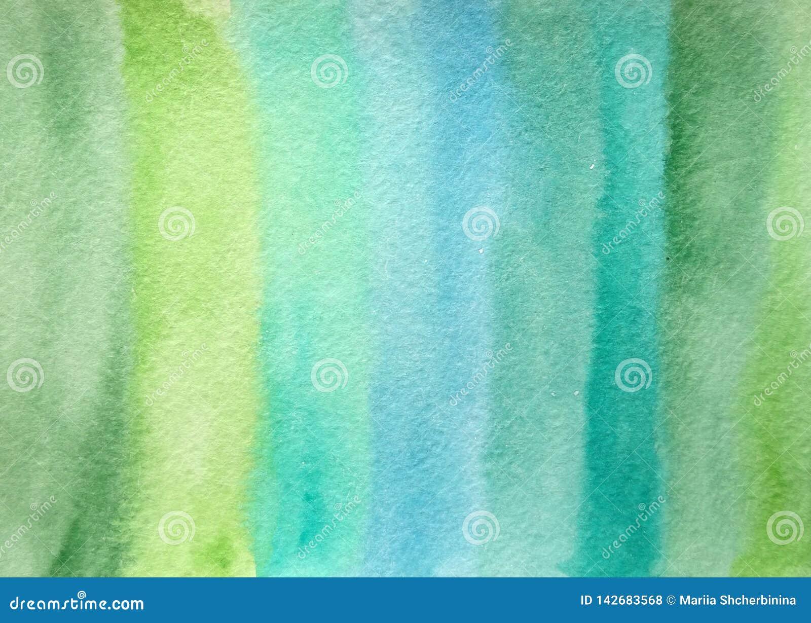 Ręka rysujący abstrakcjonistyczny akwareli zieleni tło