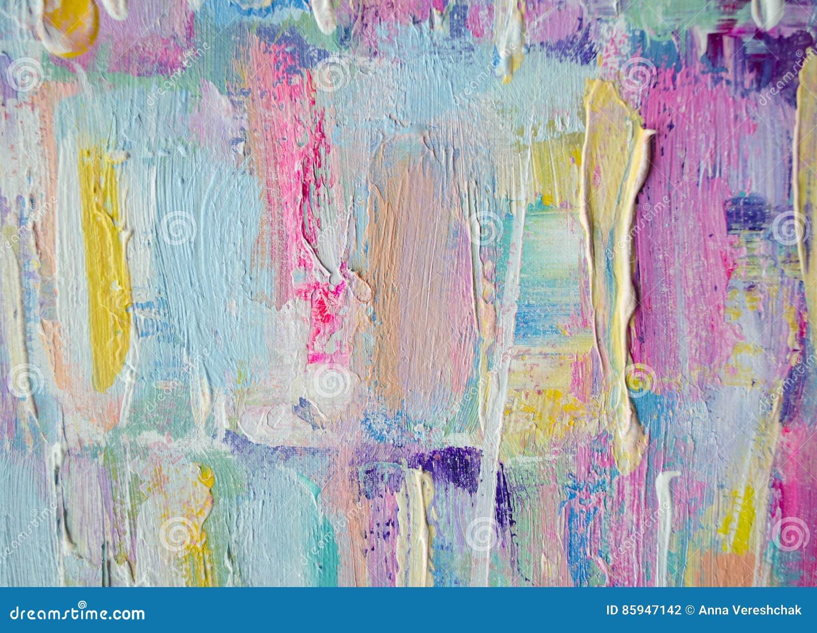 Ręka rysujący akrylowy obraz sztuki abstrakcjonistycznej tło Akrylowy obraz na kanwie Kolor tekstura Czerep grafika brushstrokes