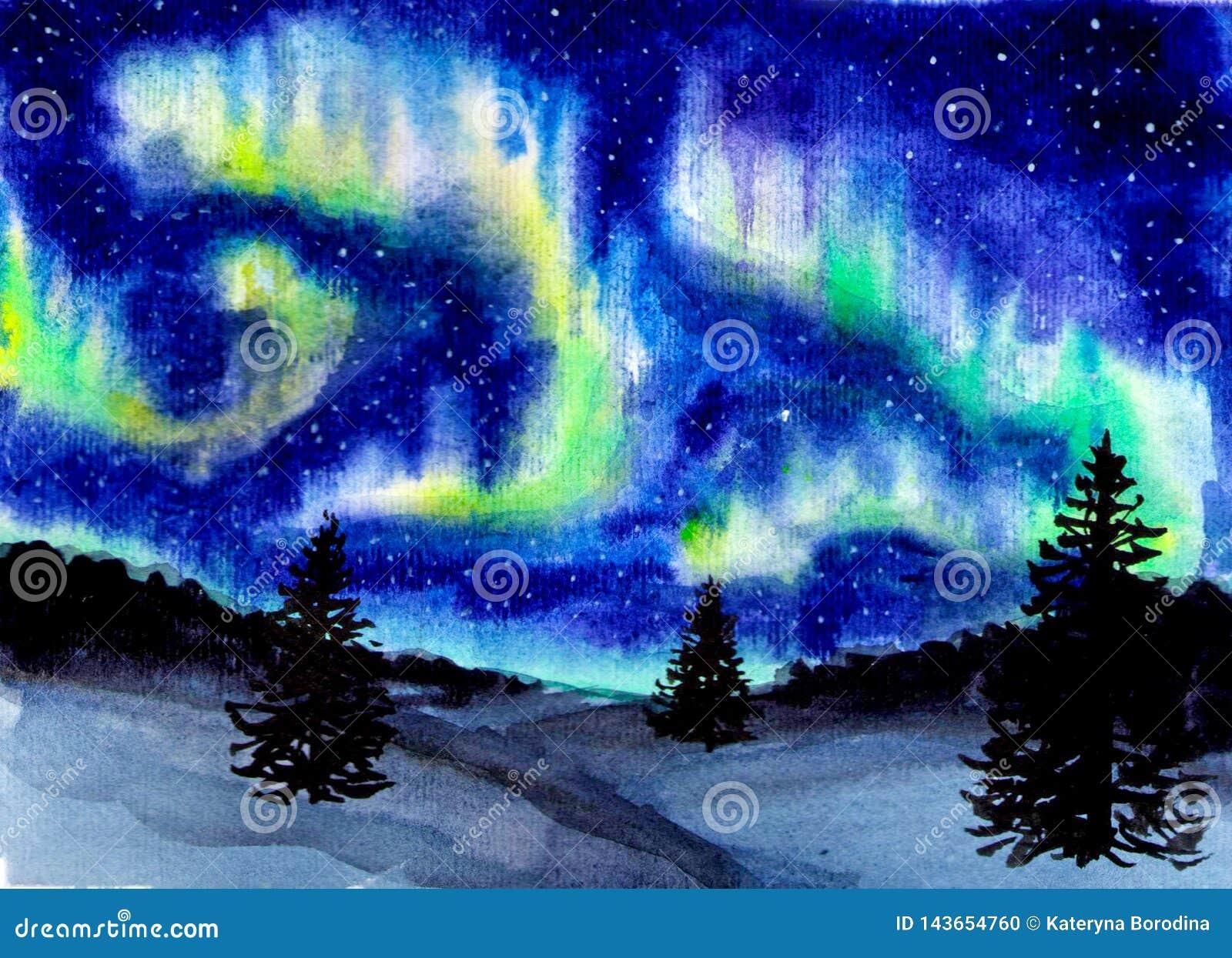 Ręka rysujący akwarela krajobraz z północnym światłem Tajemnicza łuna w niebie przy nocą