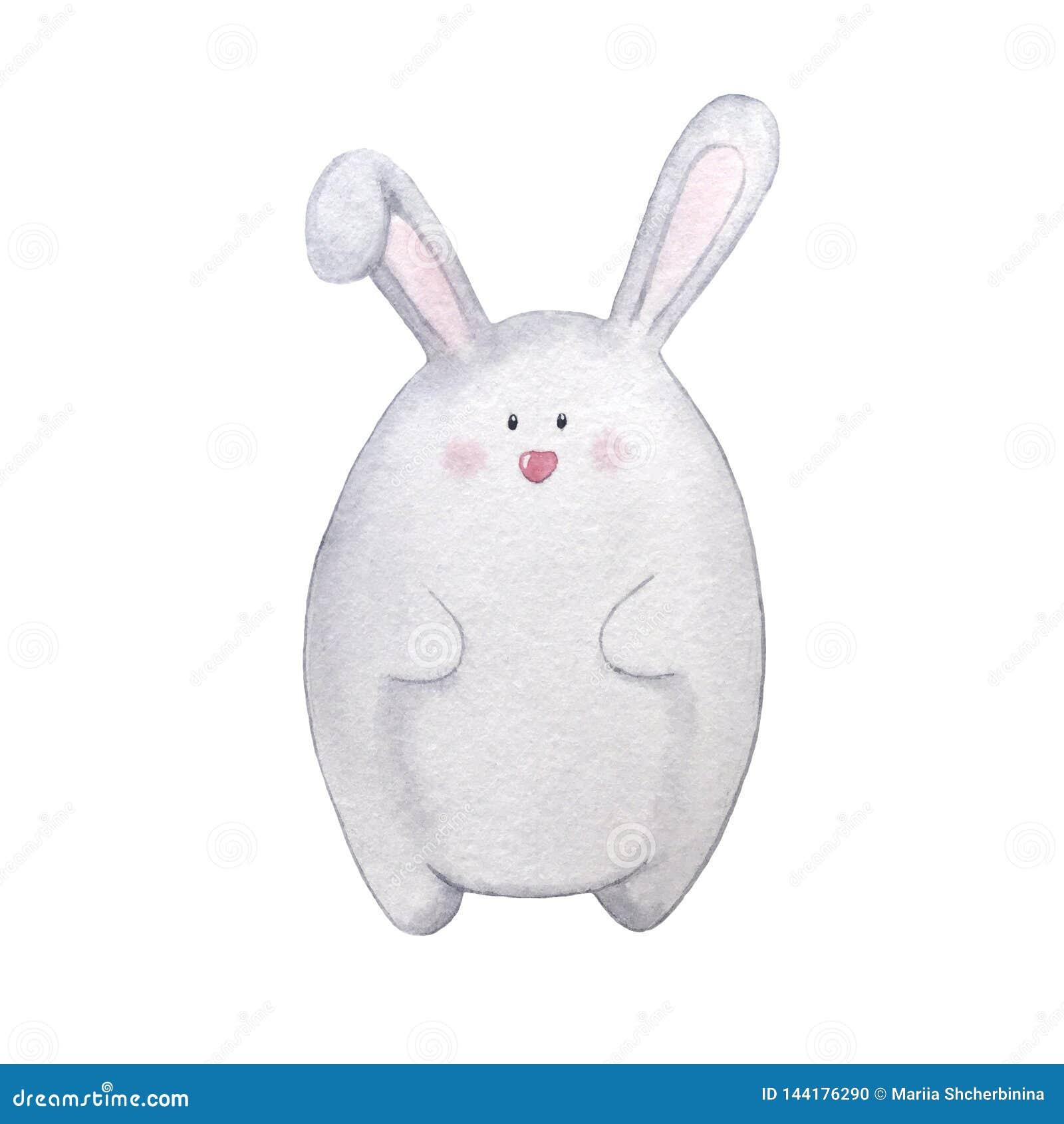 Ręka rysujący akwareli Easter popielaty królik