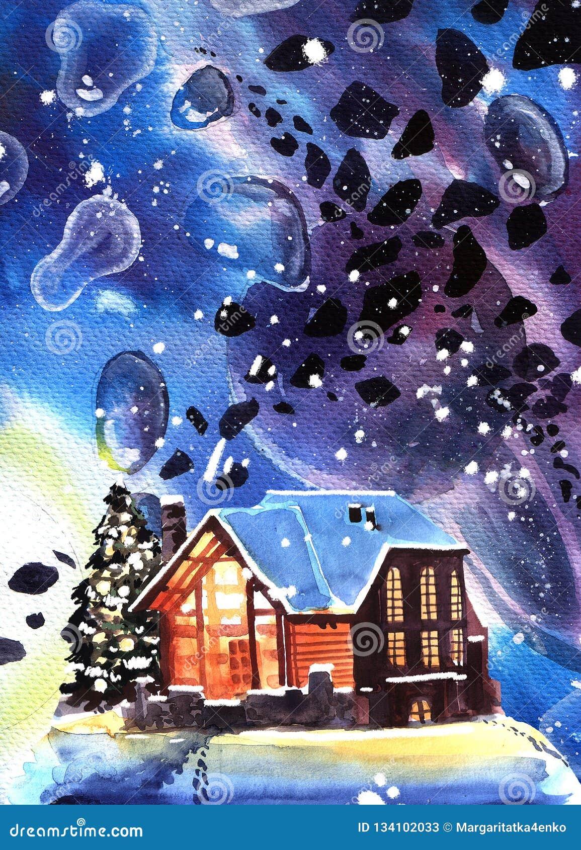 Ręka rysujący akwareli zimy nocy krajobraz z domem