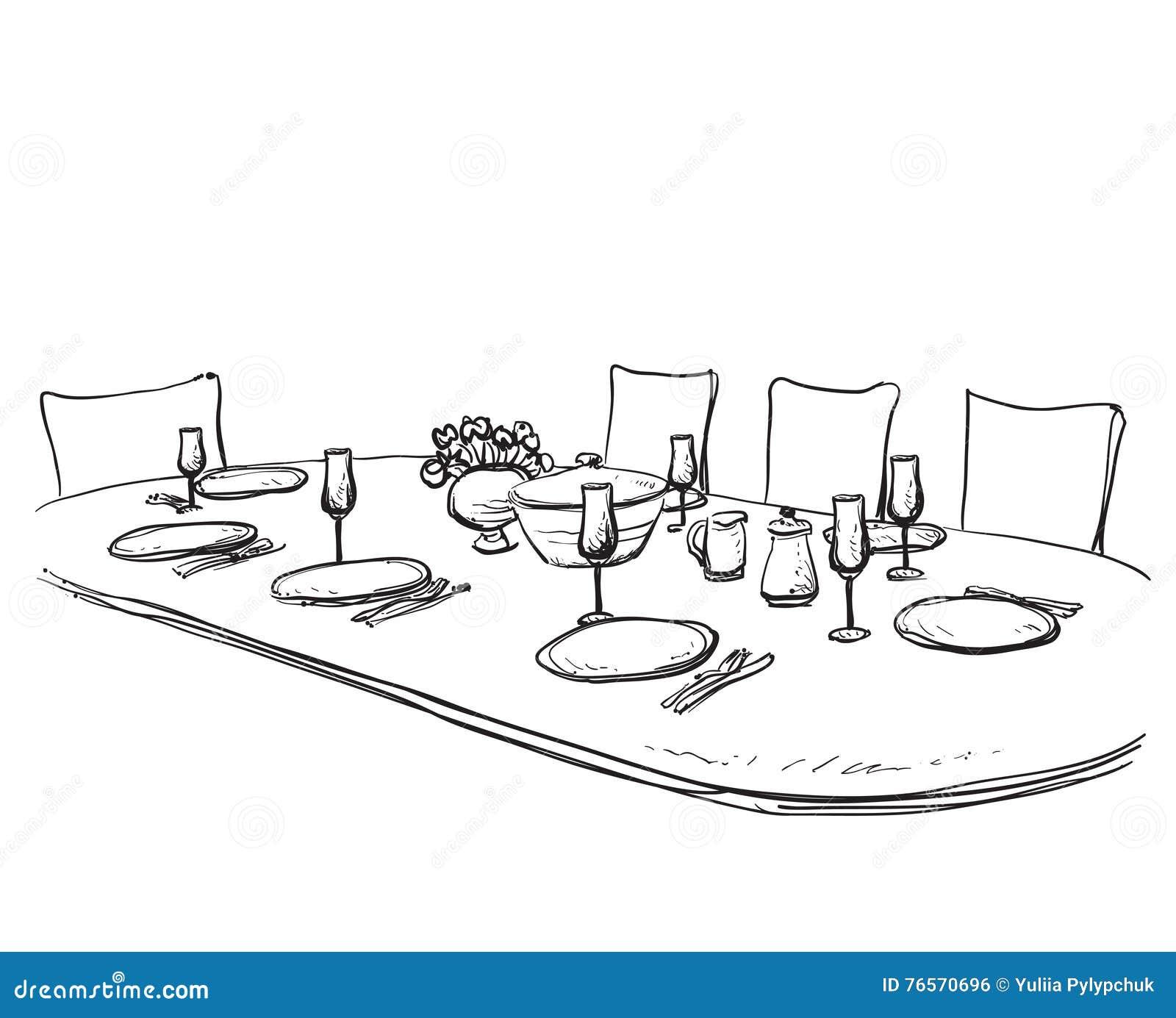 Ręka rysujący artykuły dinner