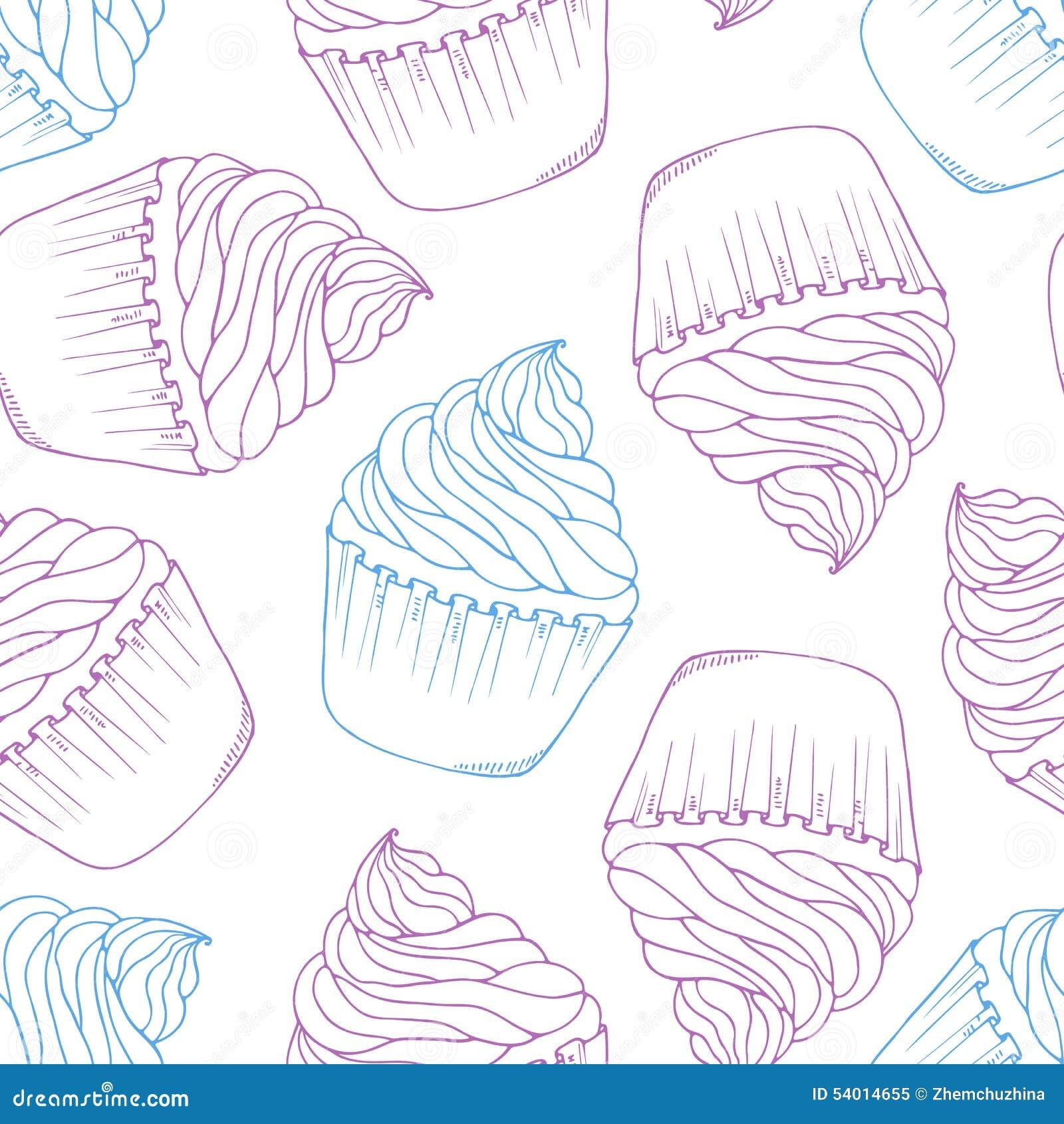 Ręka rysujący babeczka bezszwowy wzór Konturu doodle deseru tło