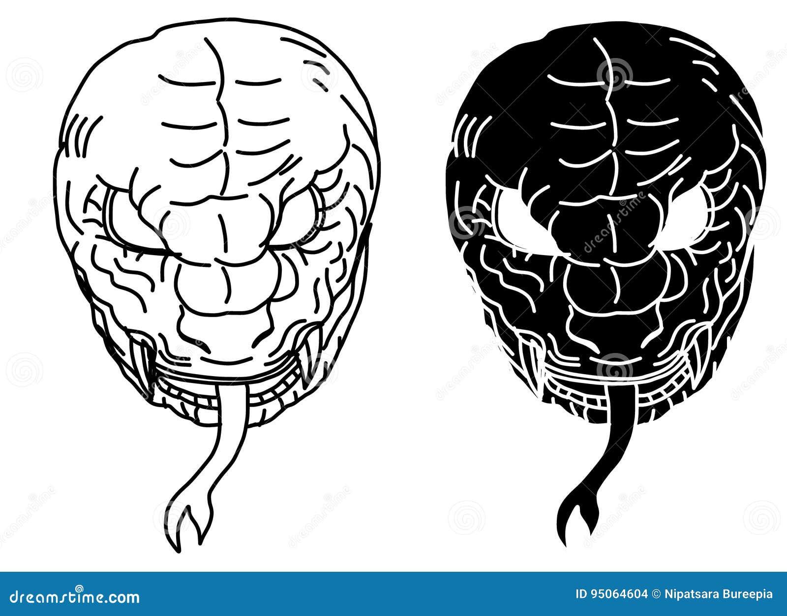 Ręka Rysujący Chiński Węża Tatuażu Projekt Ilustracja Wektor