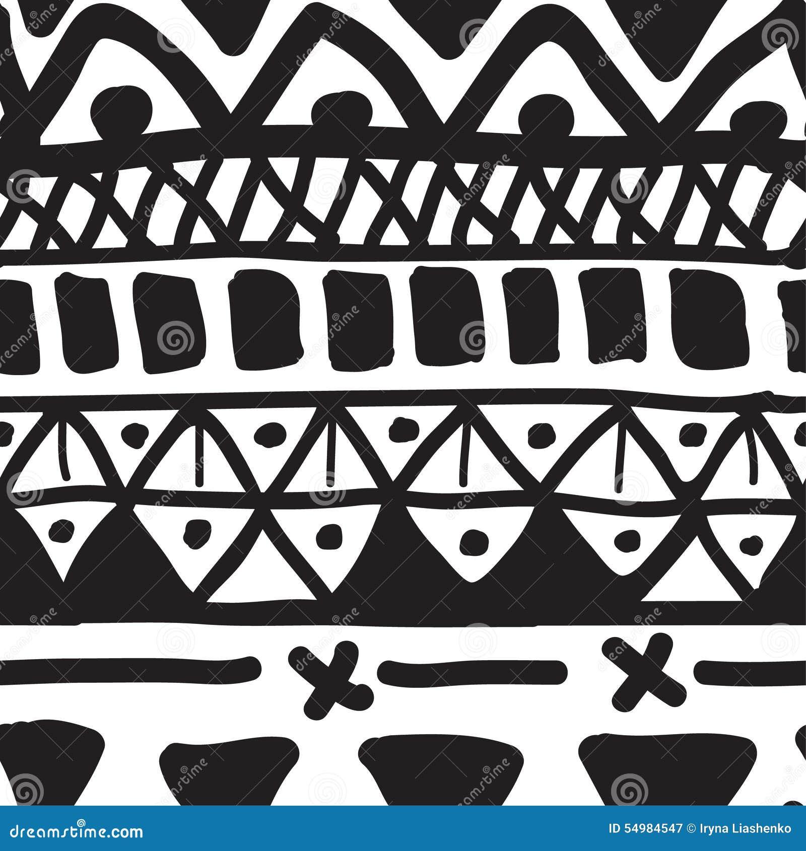 Ręka rysujący czarny i biały bezszwowy wzór