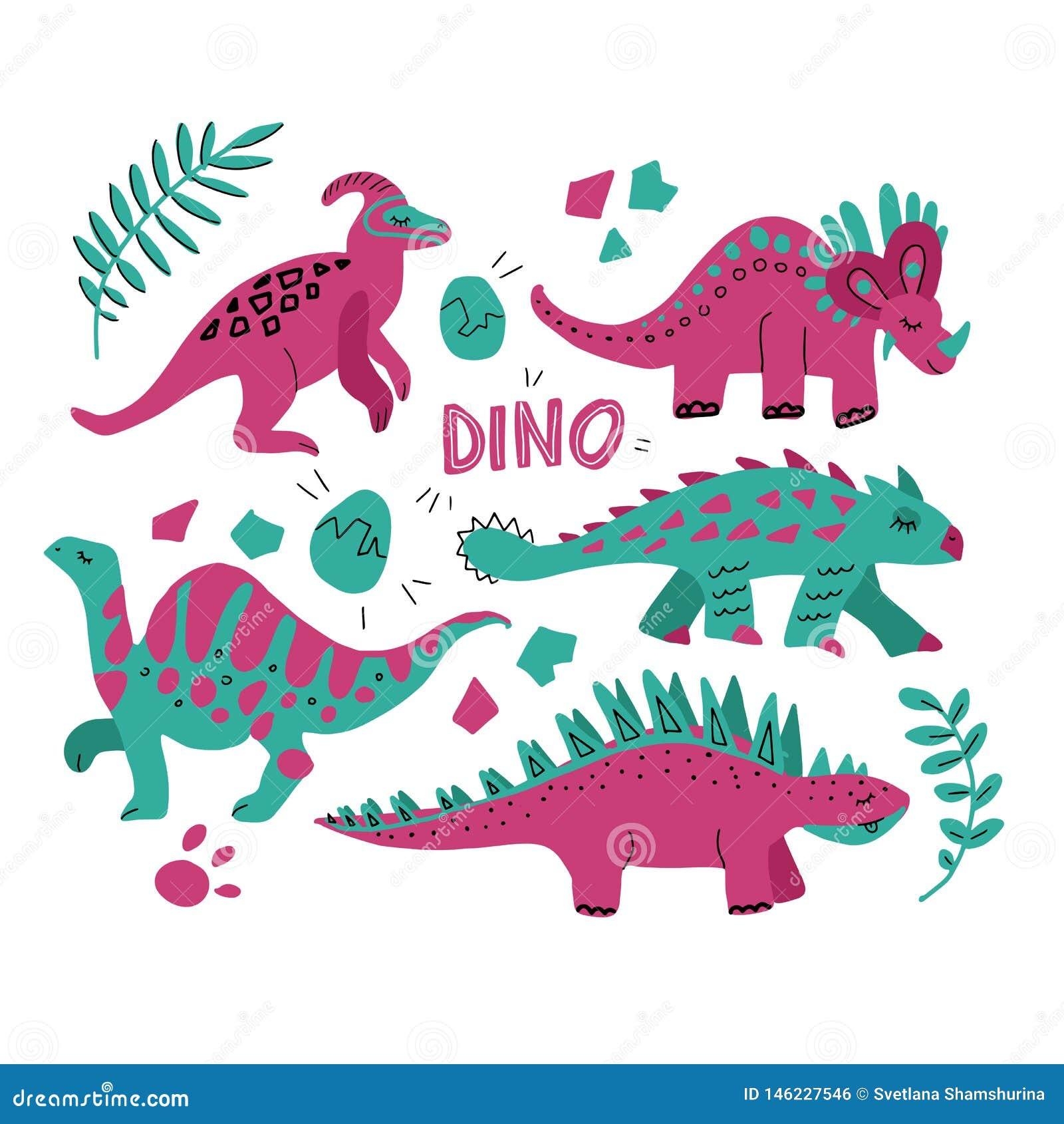 Ręka rysujący dinosaury ustawiający i tropikalni liście Śliczna śmieszna kreskówki Dino kolekcja Ręka rysujący wektorowy ustawiaj