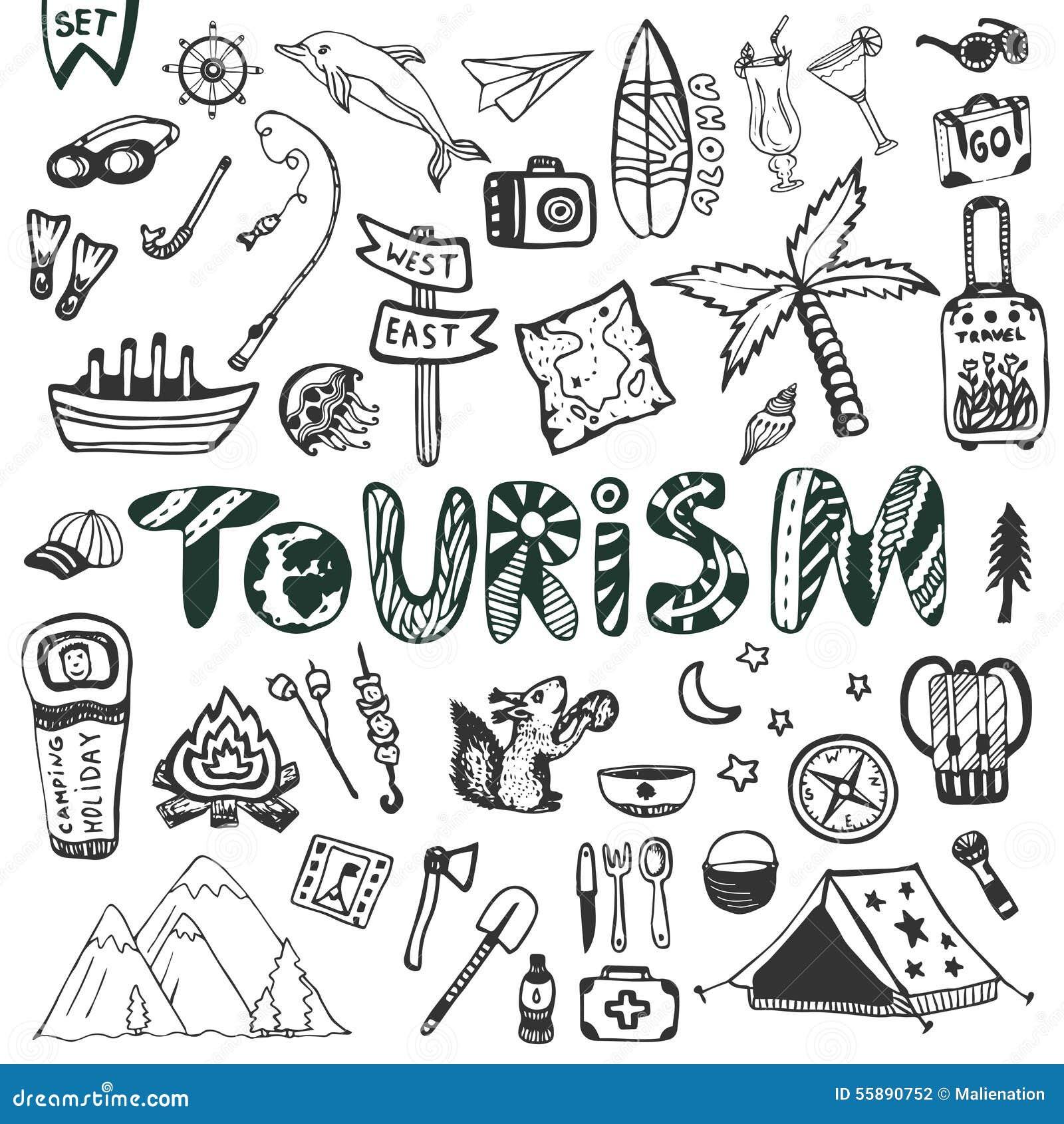Ręka rysujący duży set Wakacje letni - obozować i morze wakacje Podróży ikon wektoru kolekcja Doodle turystyki literowanie
