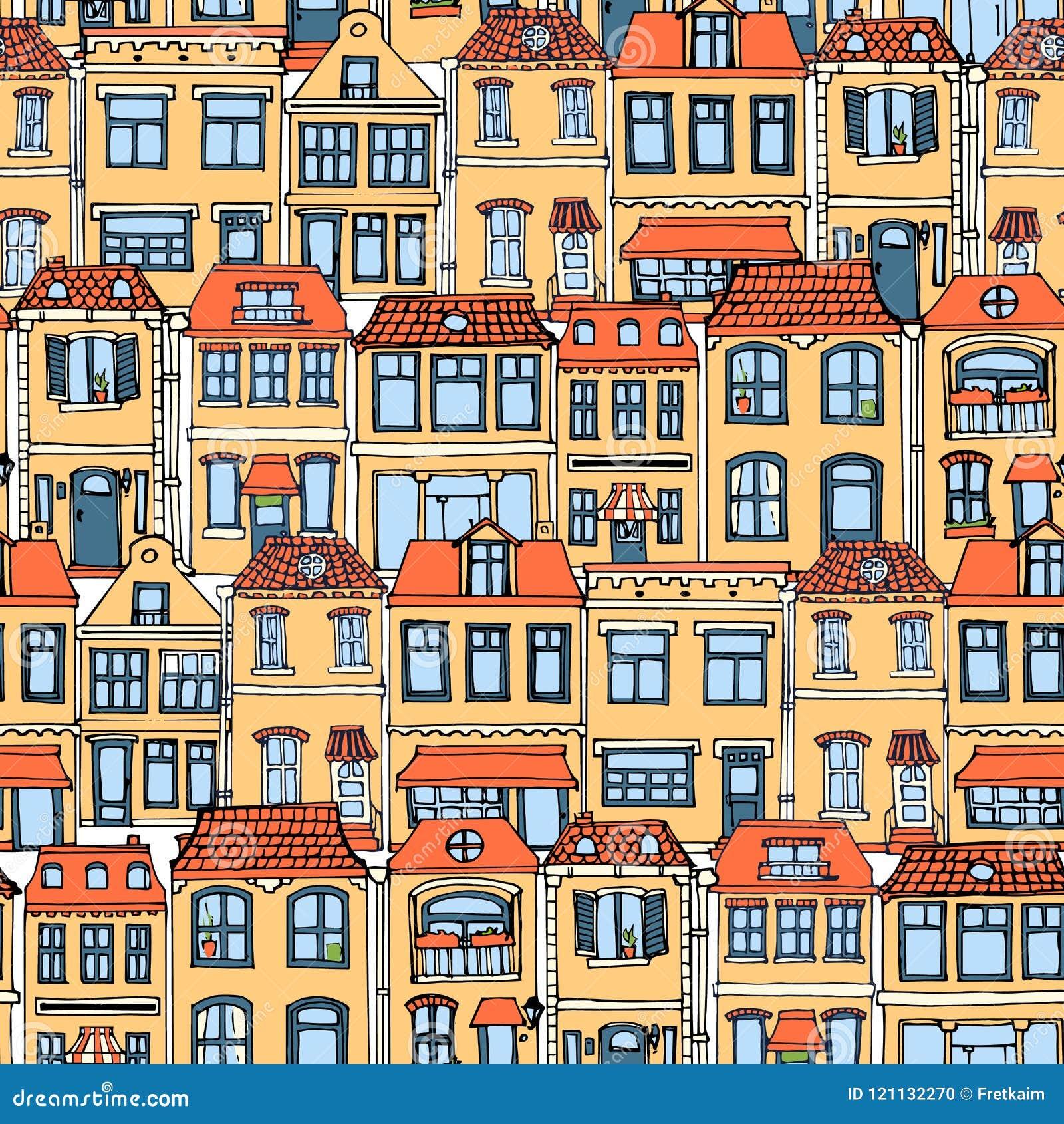 Ręka rysujący Europejski miasto mieści bezszwowego wzór Śliczna kreskówka stylu wektoru ilustracja Kolorowy Nowożytny domu miejsk