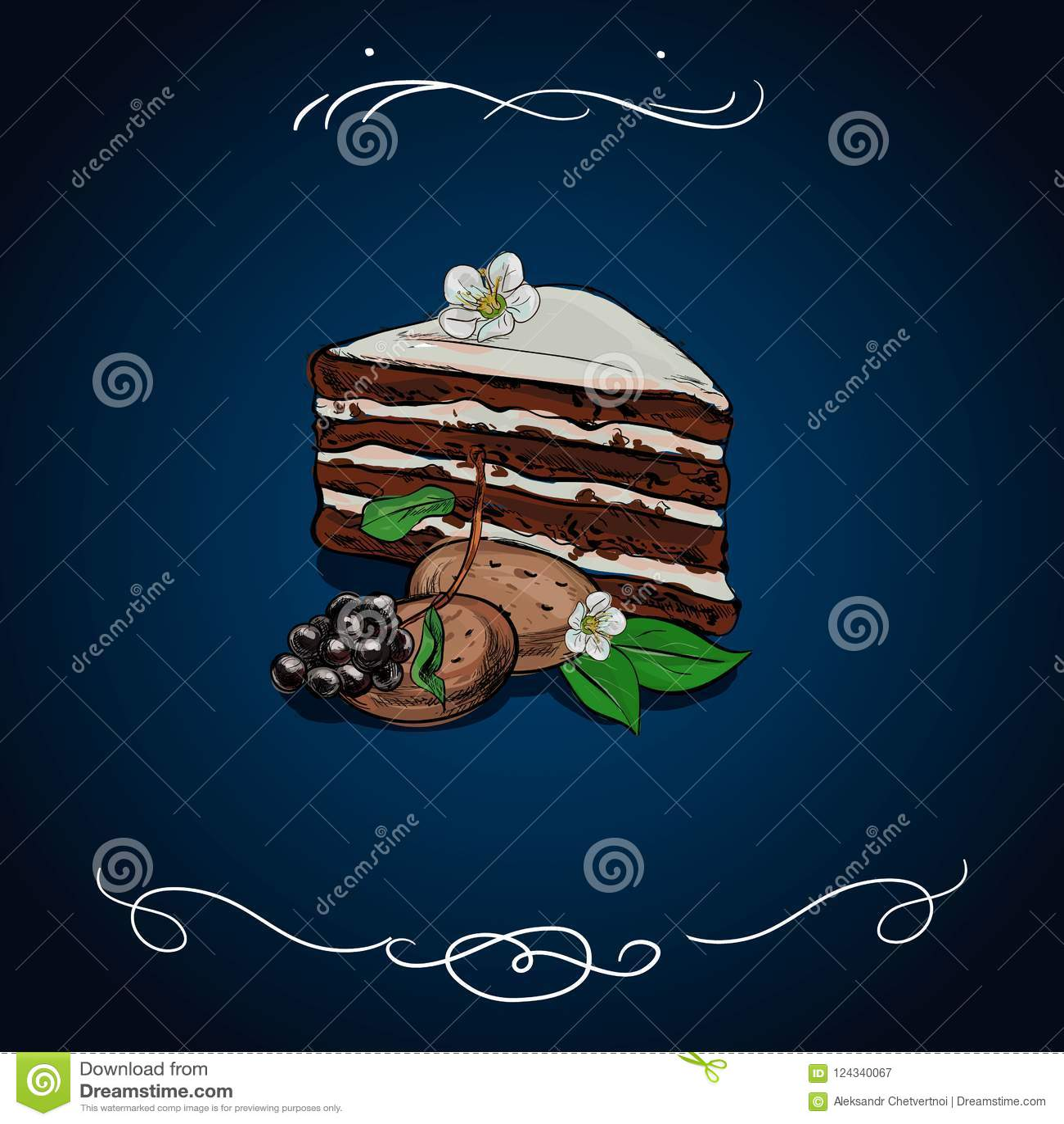 Ręka rysujący kawałek płatowaty czekoladowy tort z lodowaceniem i goleniami, nakreślenie stylowa wektorowa ilustracja odizolowywa