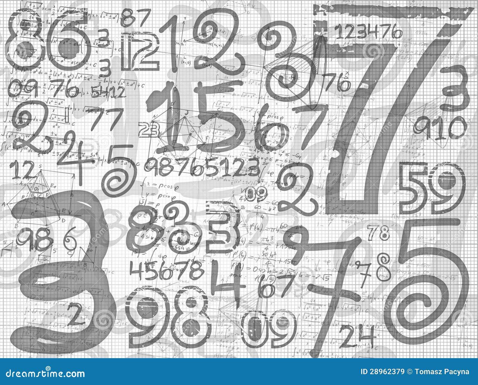 Ręka rysujący liczby siatki papierowy tło