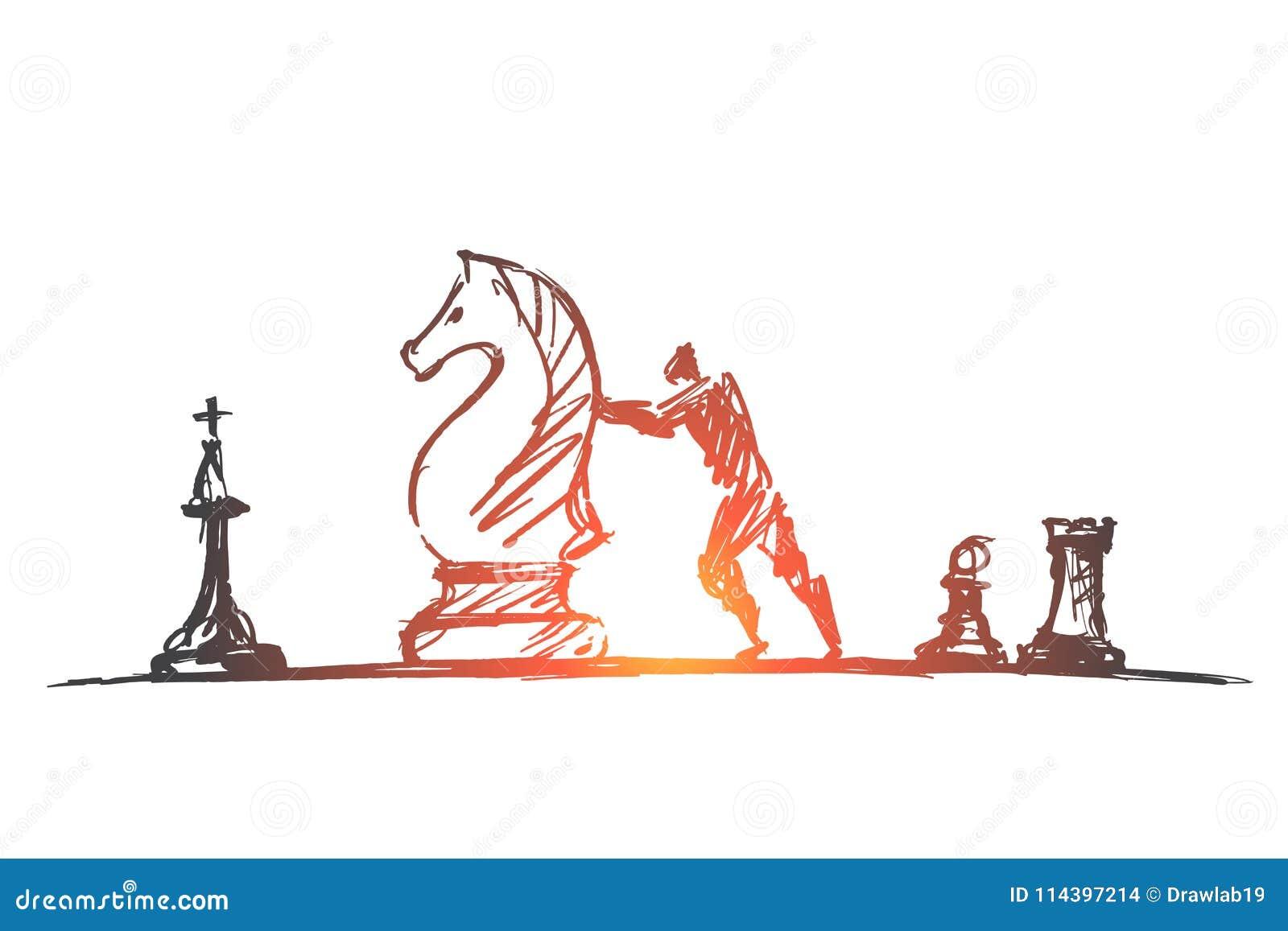Ręka rysujący mężczyzna rusza się ogromną szachową postać