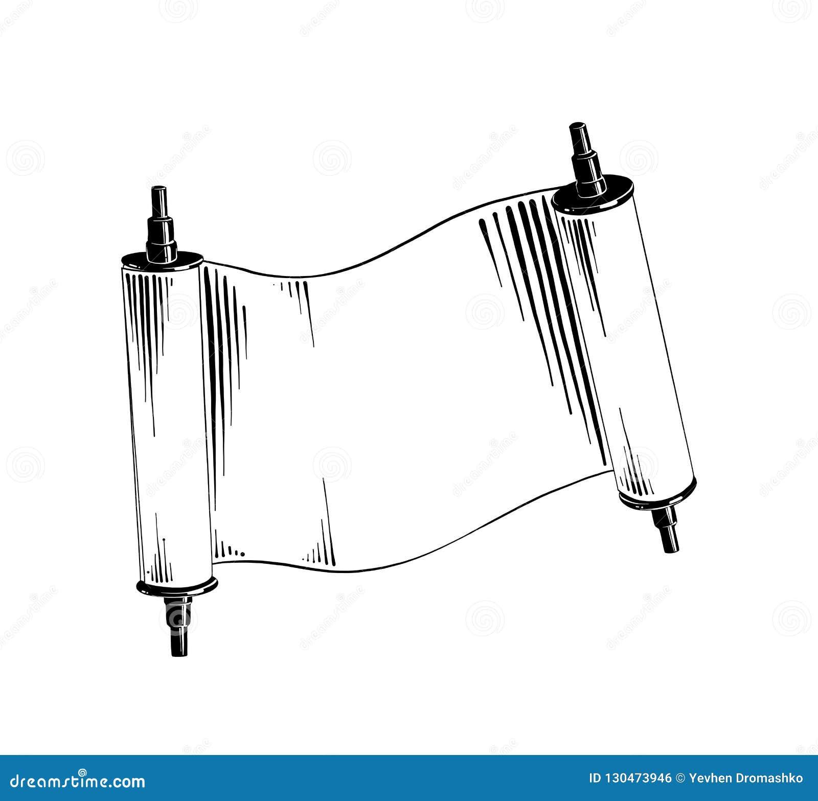 Ręka rysujący nakreślenie Żydowska ślimacznica w czerni odizolowywającym na białym tle Szczegółowy rocznik akwaforty stylu rysune
