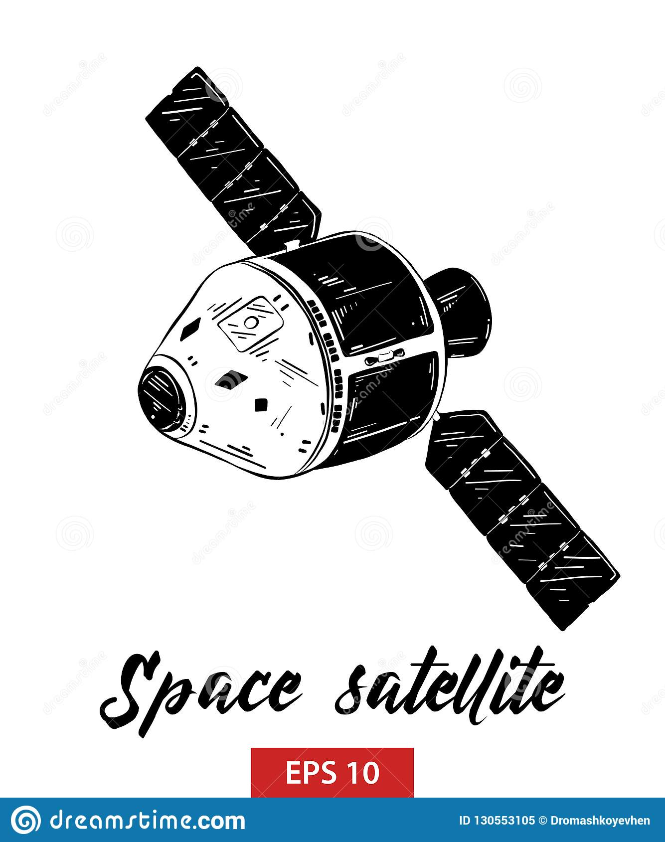 Ręka rysujący nakreślenie astronautyczna satelita w czerni odizolowywającym na białym tle Szczegółowy rocznik akwaforty stylu rys