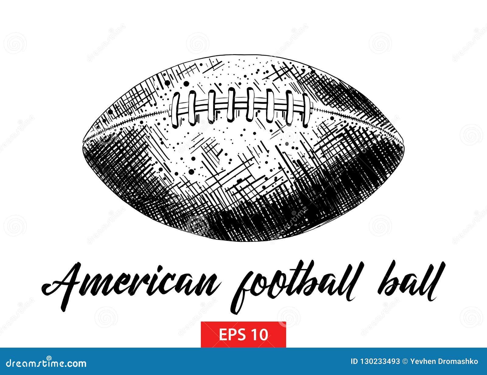 Ręka rysujący nakreślenie futbol amerykański piłka w czerni odizolowywającym na białym tle Szczegółowy rocznik akwaforty stylu ry