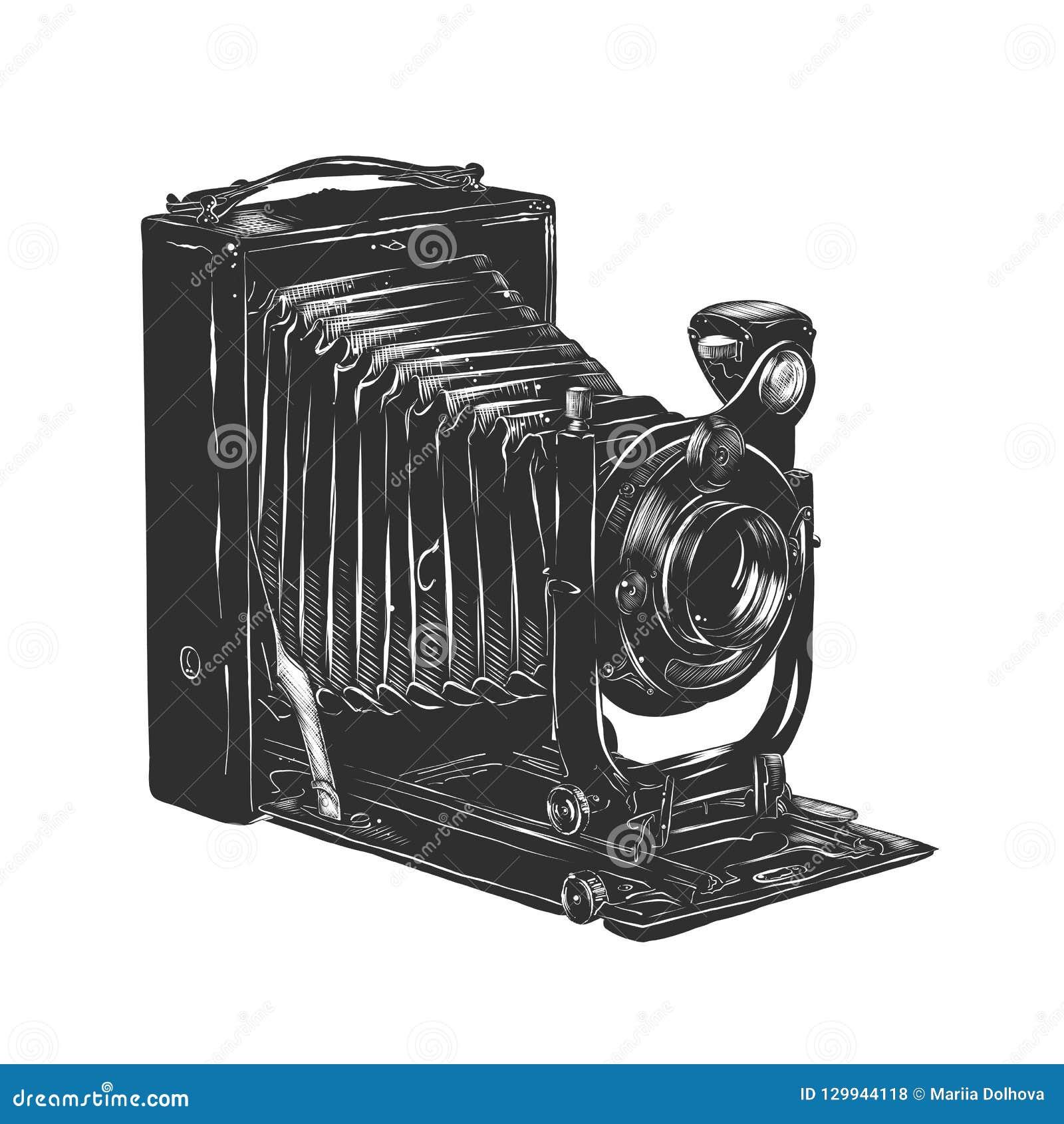 Ręka rysujący nakreślenie rocznik kamera w monochromu odizolowywającym na białym tle Szczegółowy woodcut stylu rysunek