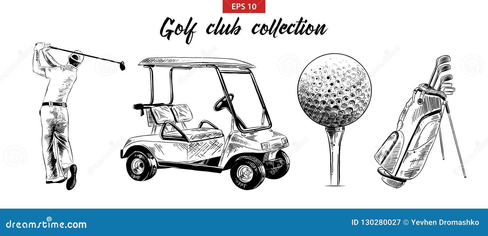 Ręka rysujący nakreślenie set golfowa torba, fura, piłka i golfista w czerni odizolowywającym na białym tle, Szczegółowy rocznik