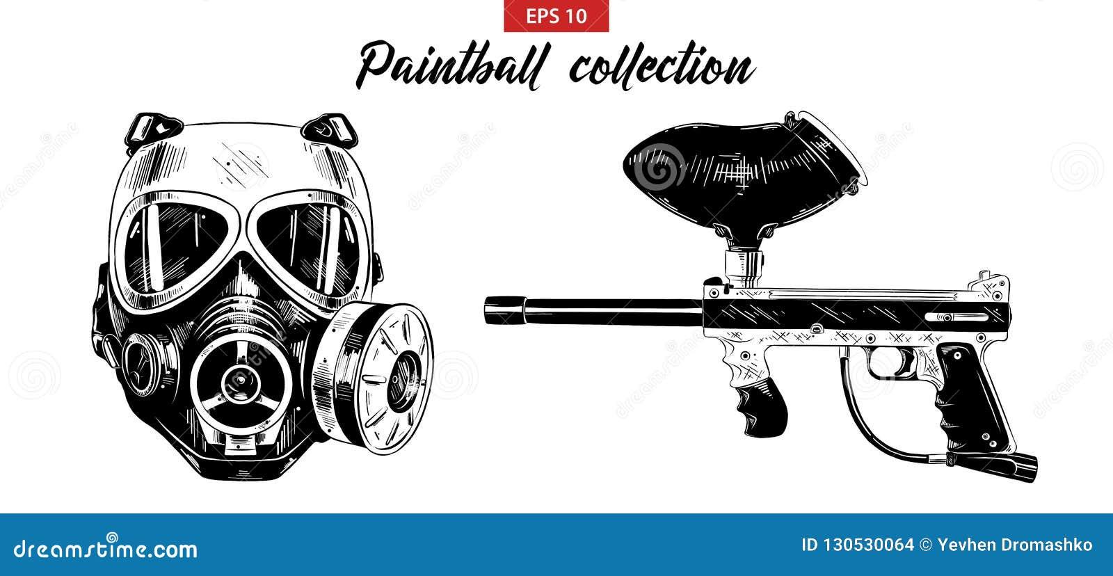 Ręka rysujący nakreślenie set paintball pistolet odizolowywający na białym tle maska i Szczegółowy rocznik akwaforty rysunek