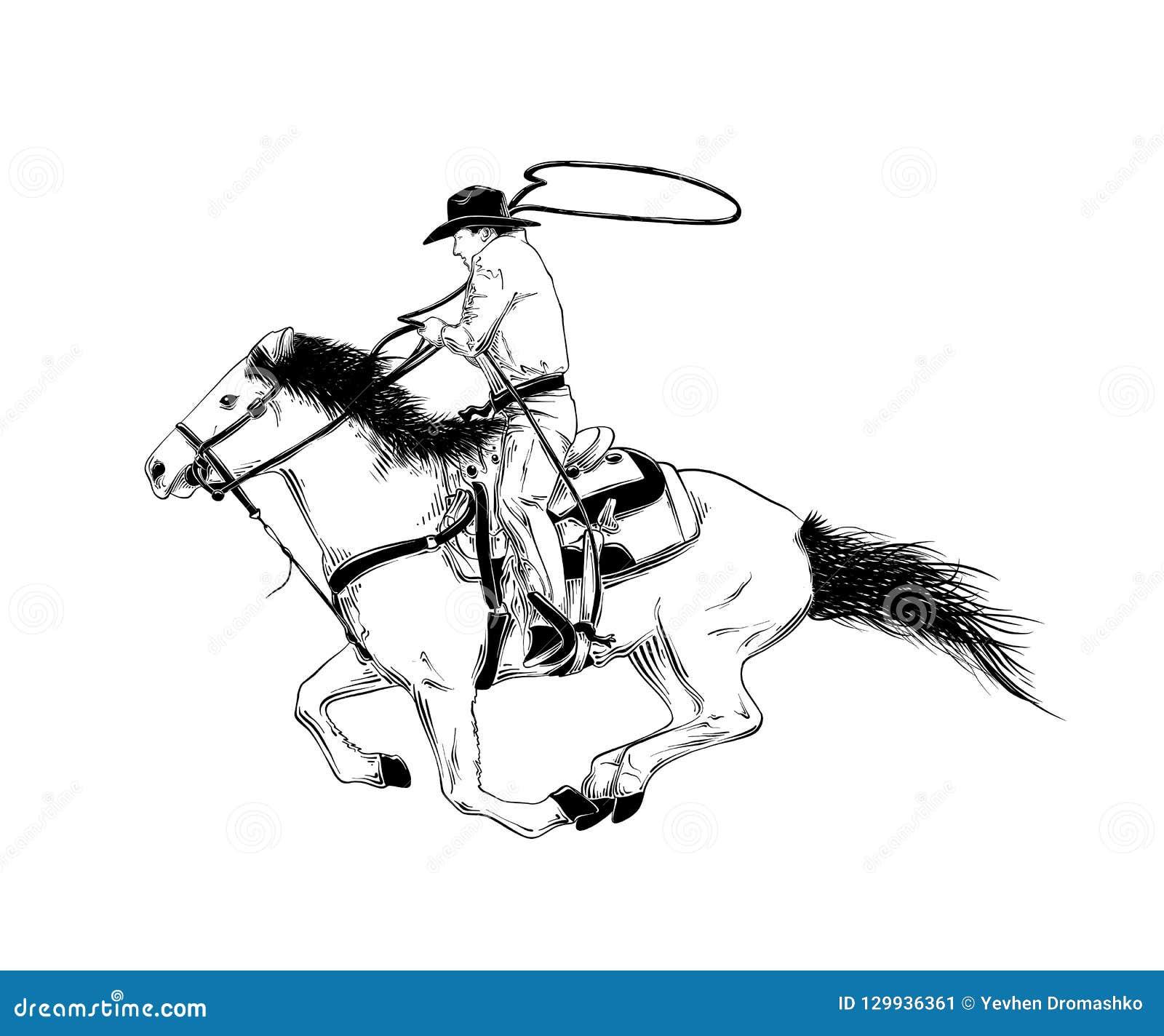 Ręka rysujący nakreślenie zachodni kowboj na koniu w czerni odizolowywającym na białym tle Szczegółowy rocznik akwaforty stylu ry