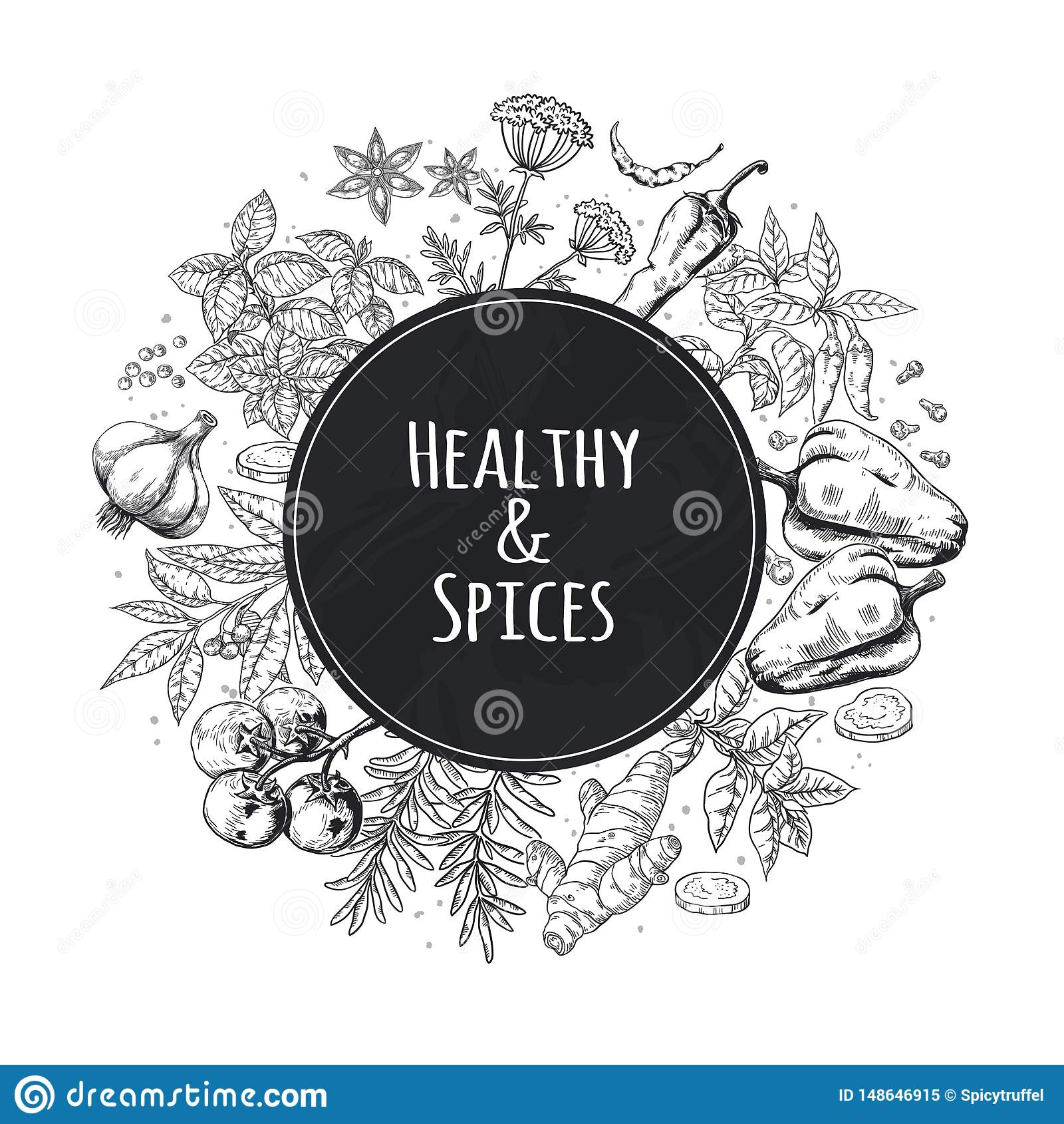 Ręka rysujący pikantności tło Azjatyccy i Indiańscy karmowi ziele i pikantność, wyśmienici menu nakreślenia elementy Kulinarny we