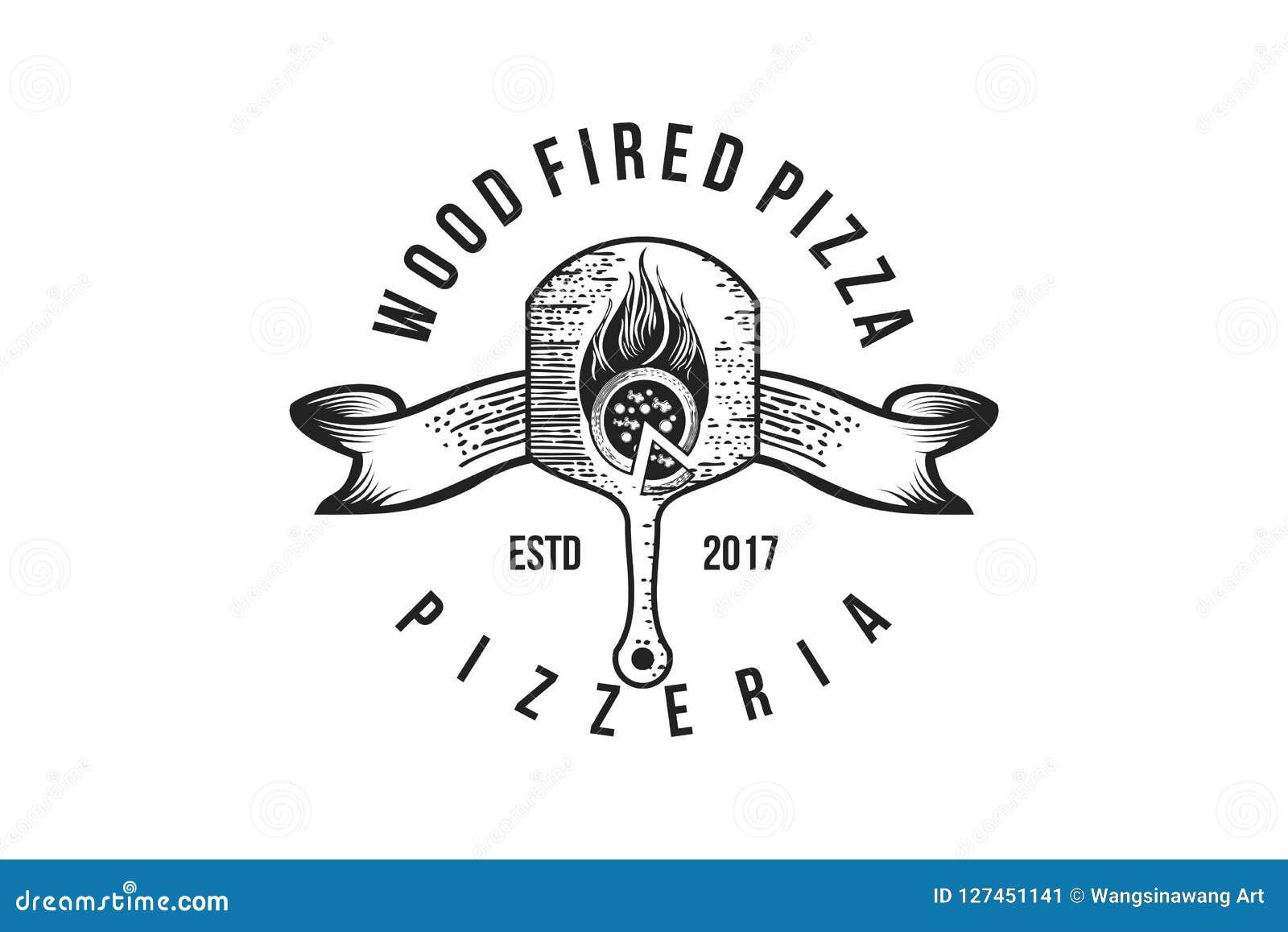 Ręka rysujący pizzy drewna talerz, rocznik pizzy sklepu logo Projektuje inspirację Odizolowywającą na Białym tle